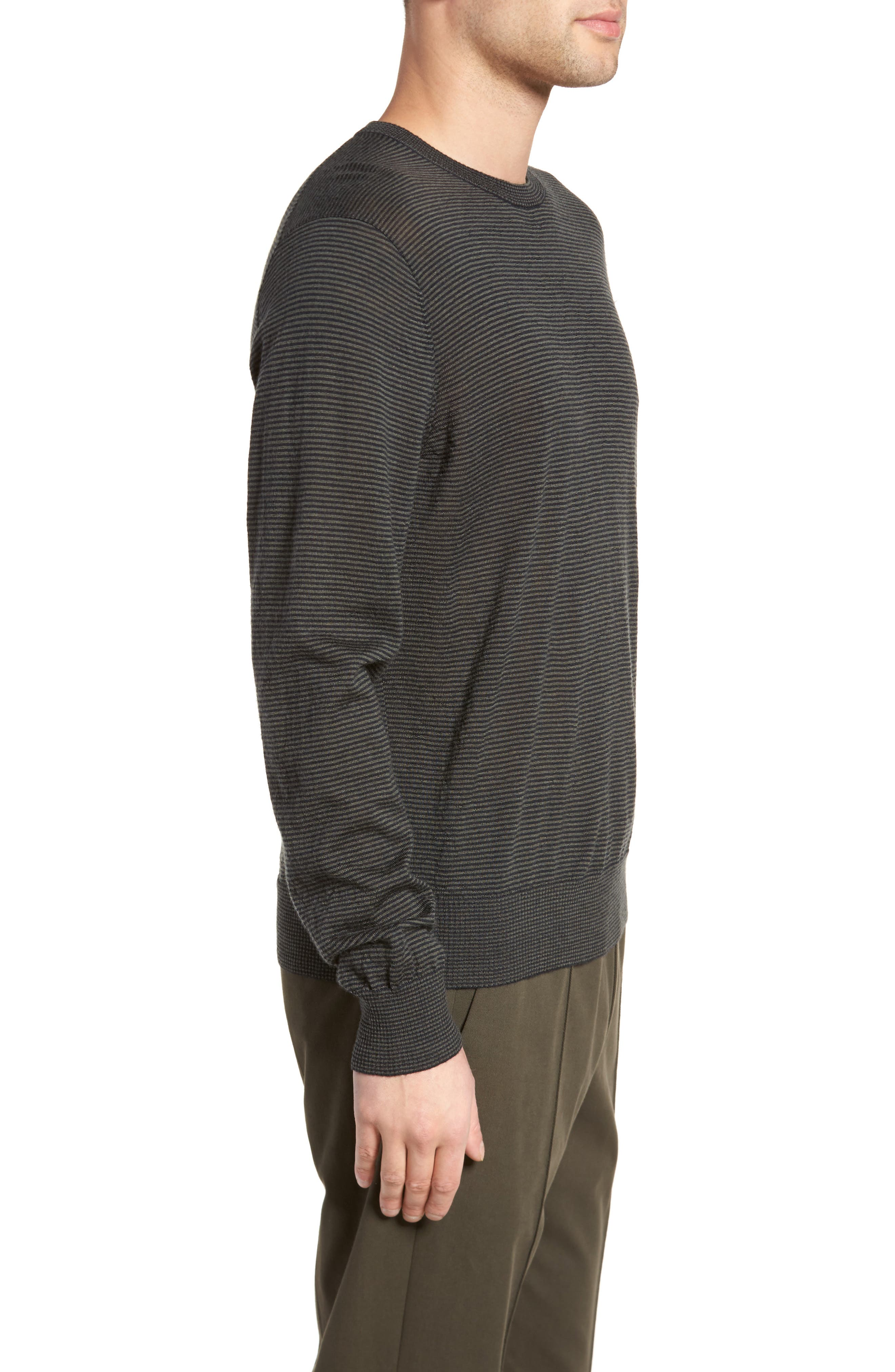 Regular Fit Pinstripe Wool Sweater,                             Alternate thumbnail 3, color,                             New Coastal/ H Charcoal