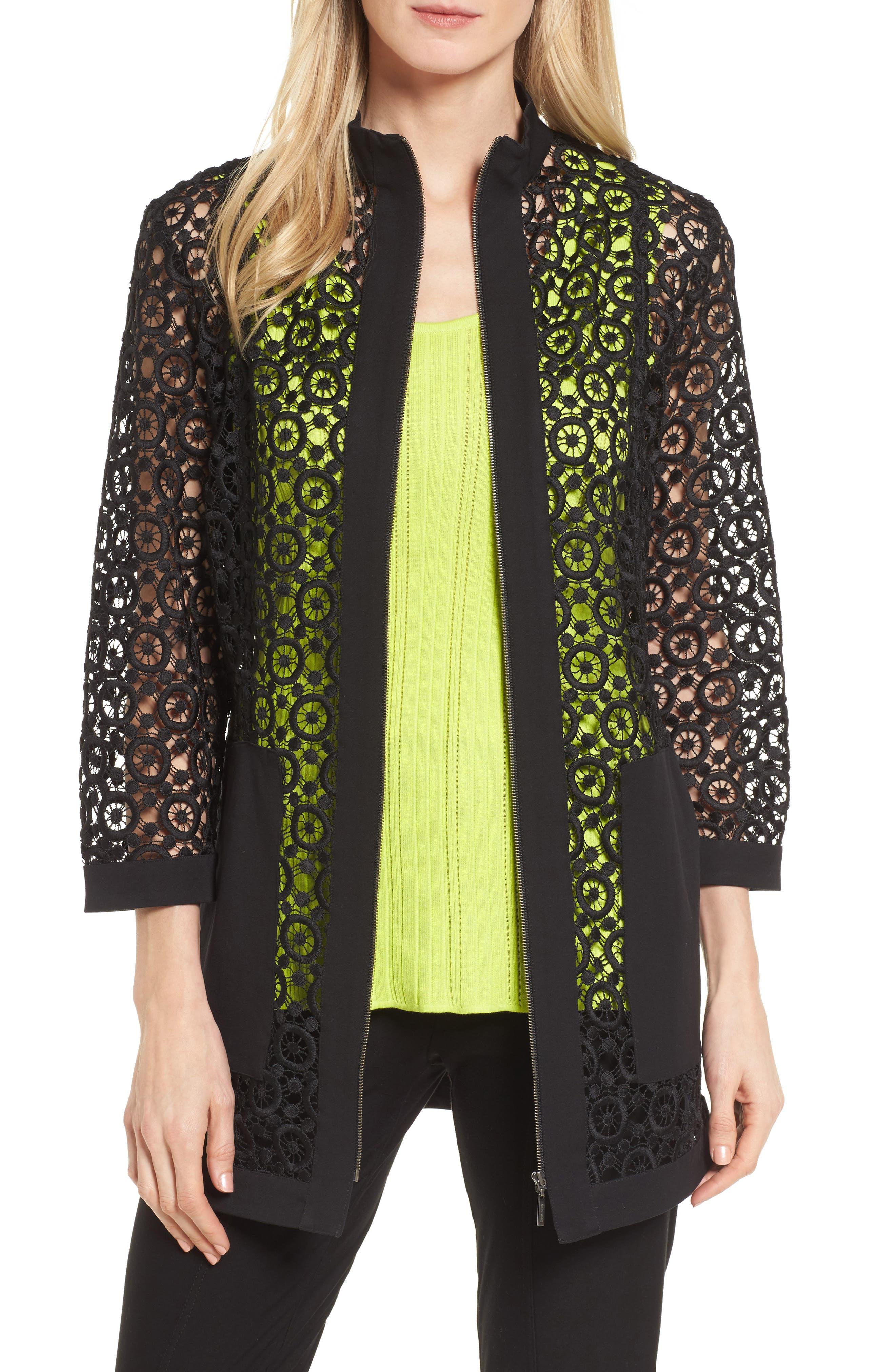 Pointelle Zip Front Jacket,                             Main thumbnail 1, color,                             Black