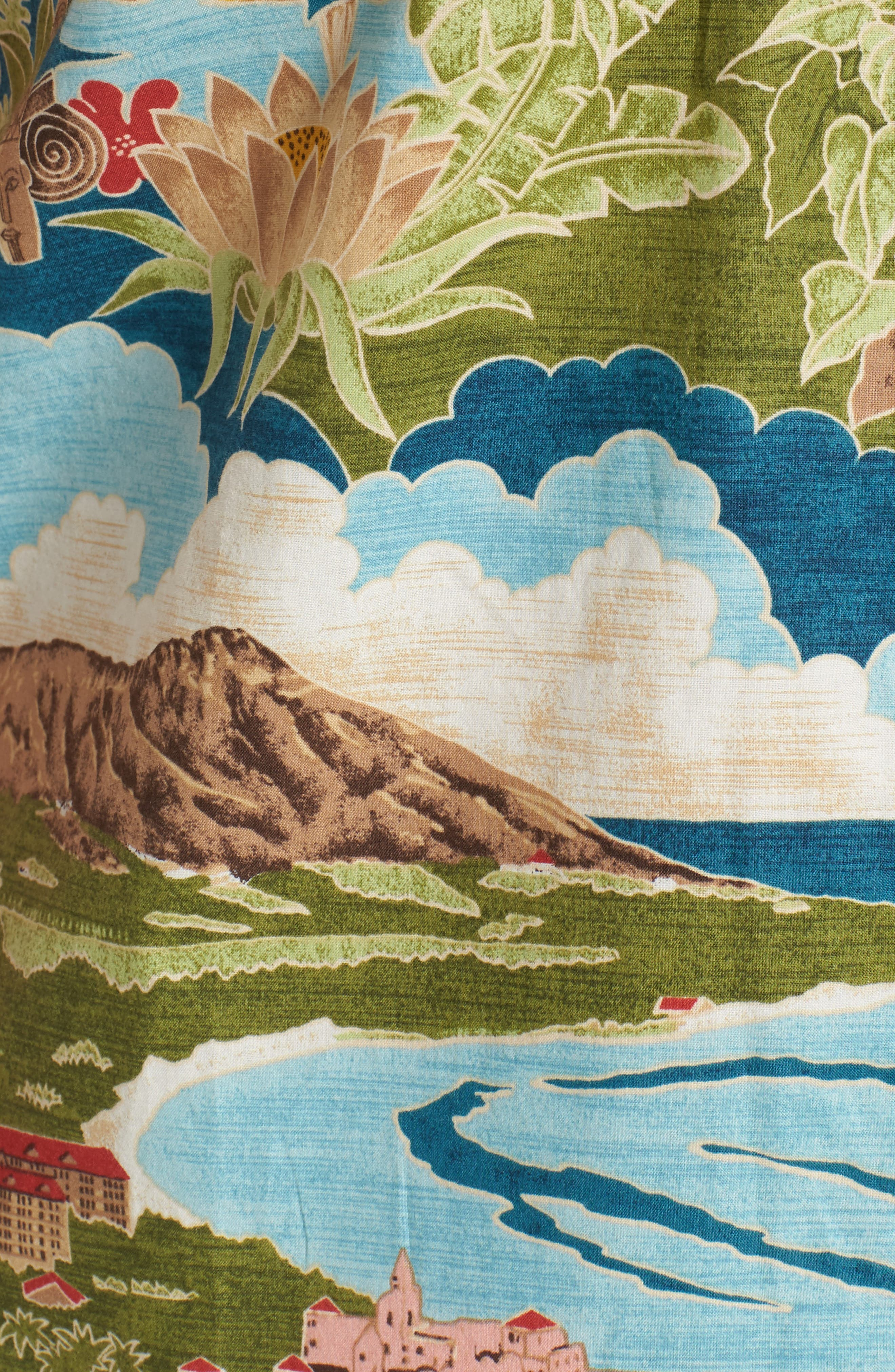 Boat Day Aloha Sport Shirt,                             Alternate thumbnail 5, color,                             Lagoon