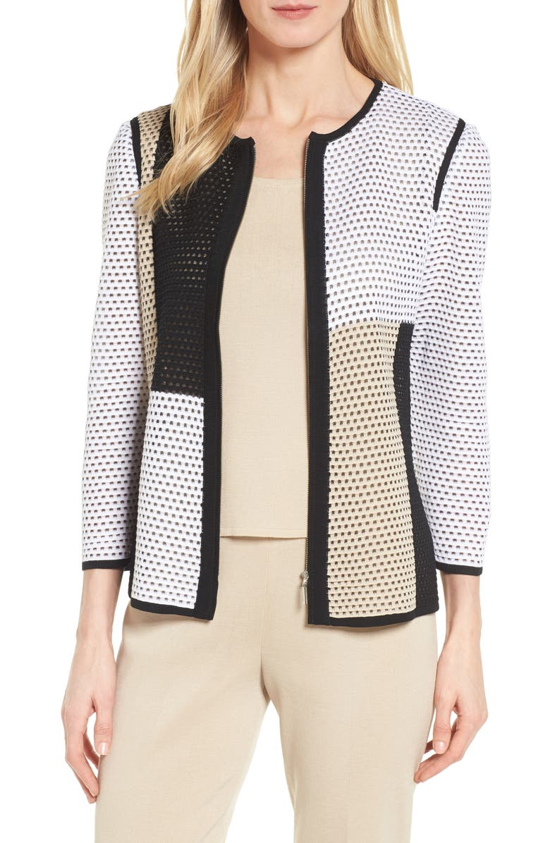 Colorblock Netted Knit Jacket