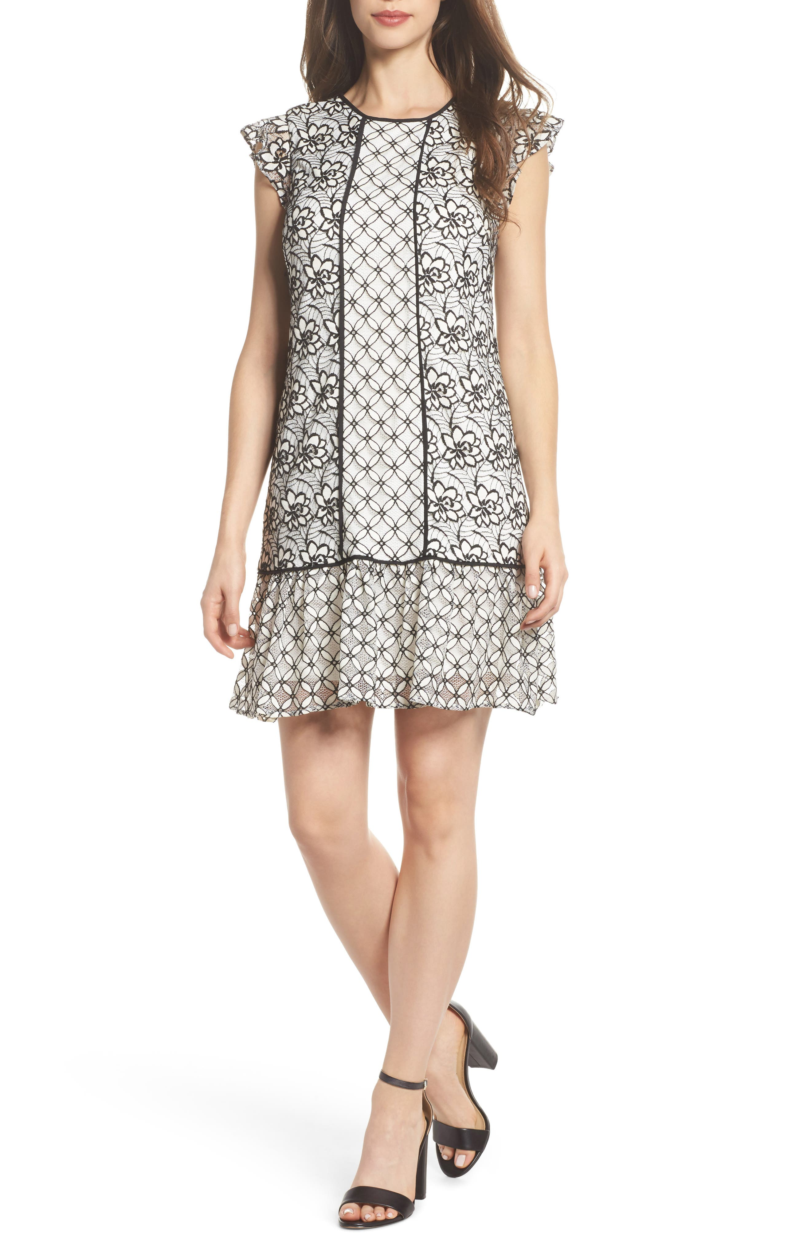 Lace Shift Dress,                         Main,                         color, Ivory/ Black