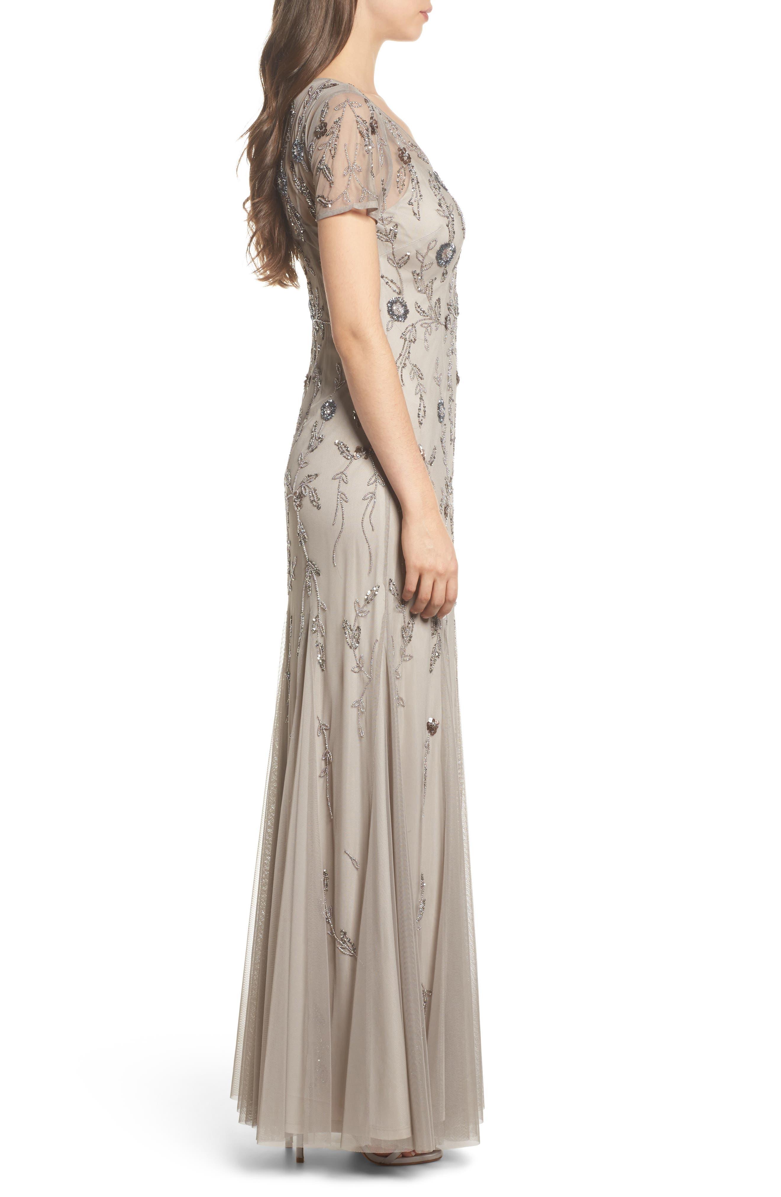 Floral Beaded Gown,                             Alternate thumbnail 3, color,                             Platinum