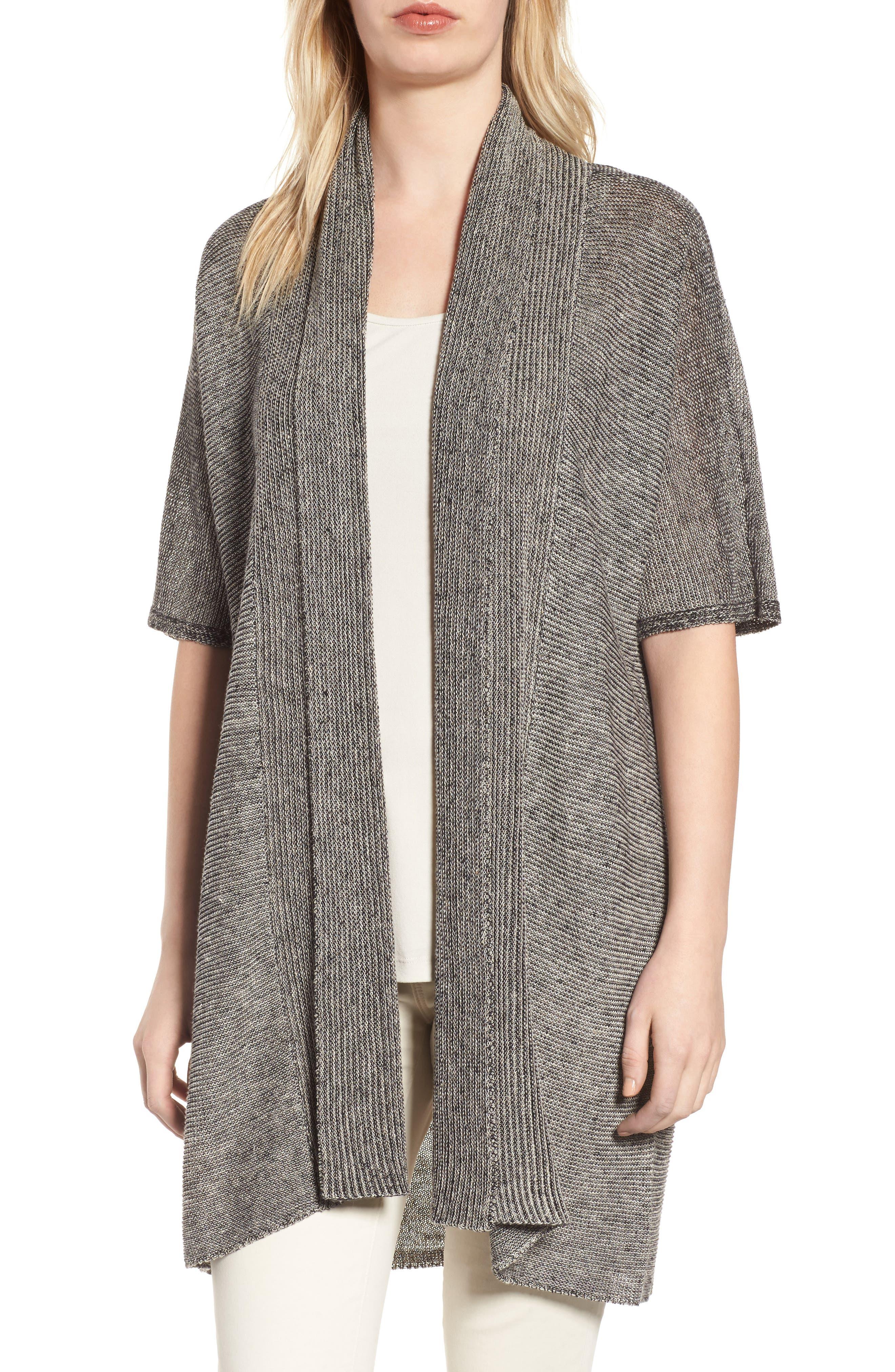 Long Linen Cardigan,                         Main,                         color, Black Natural