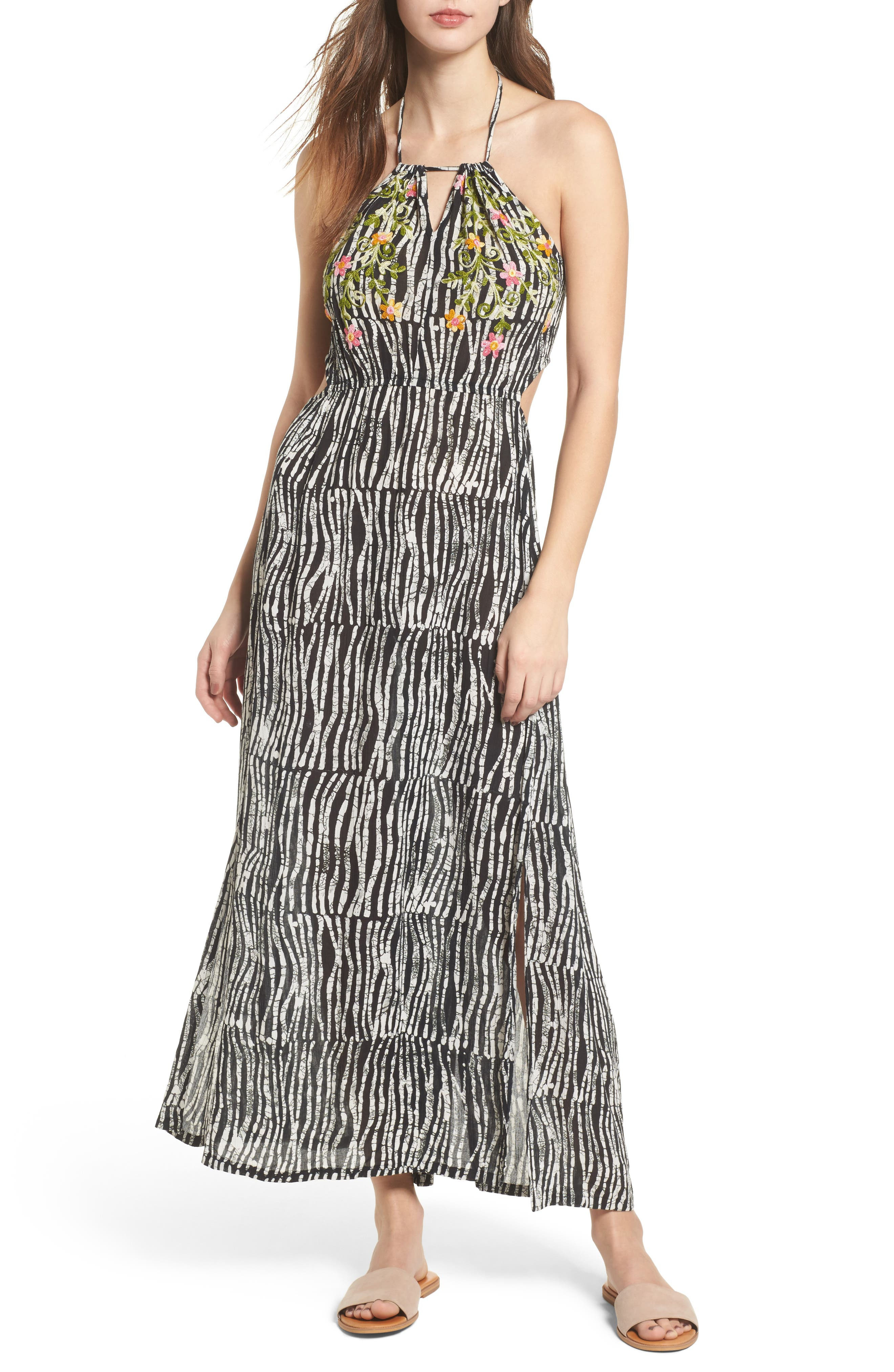 Before Dawn Embroidered Maxi Dress,                             Main thumbnail 1, color,                             Black/ White