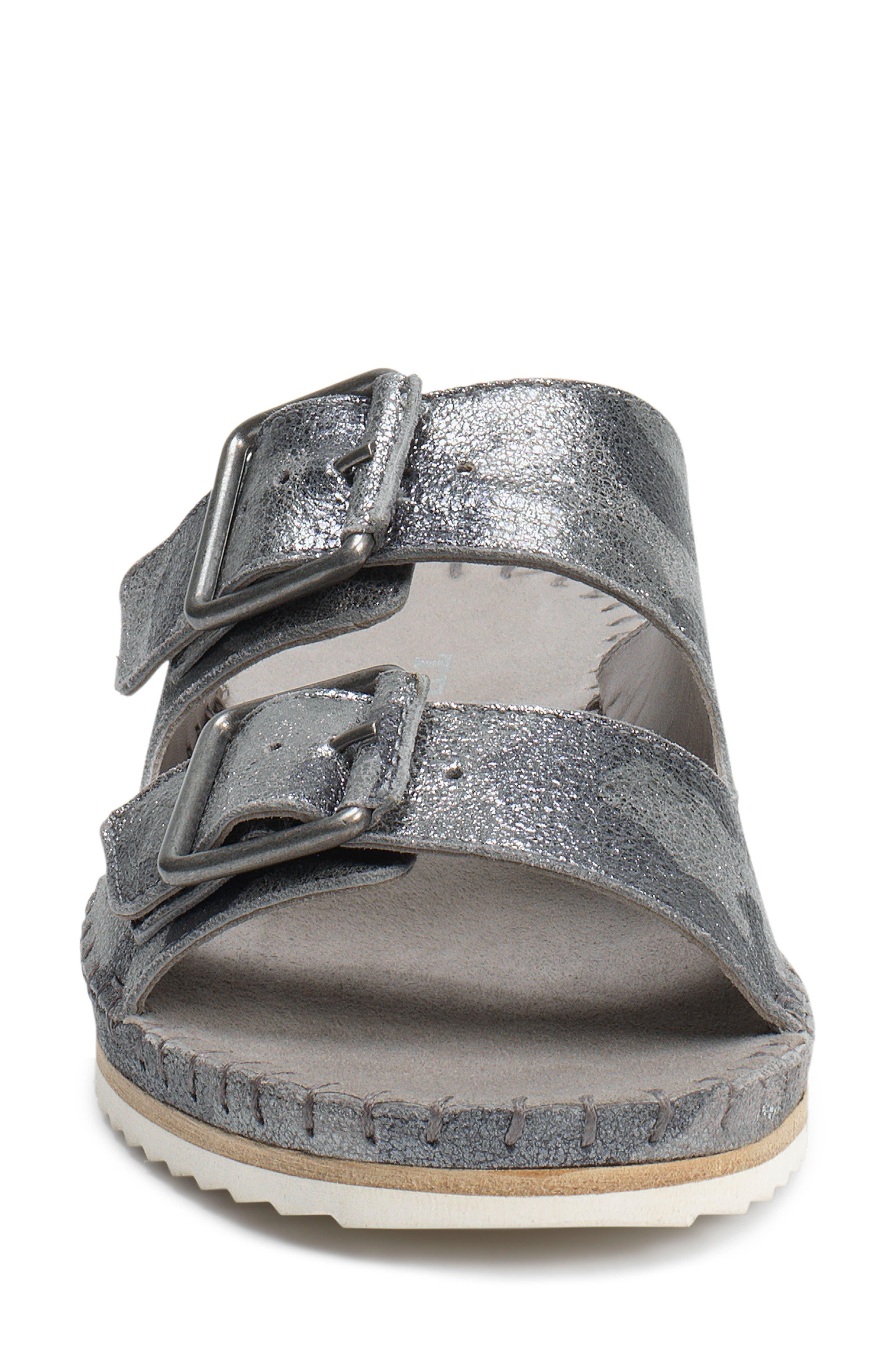 Carli Slide Sandal,                             Alternate thumbnail 3, color,                             Pewter Camo Metallic Suede