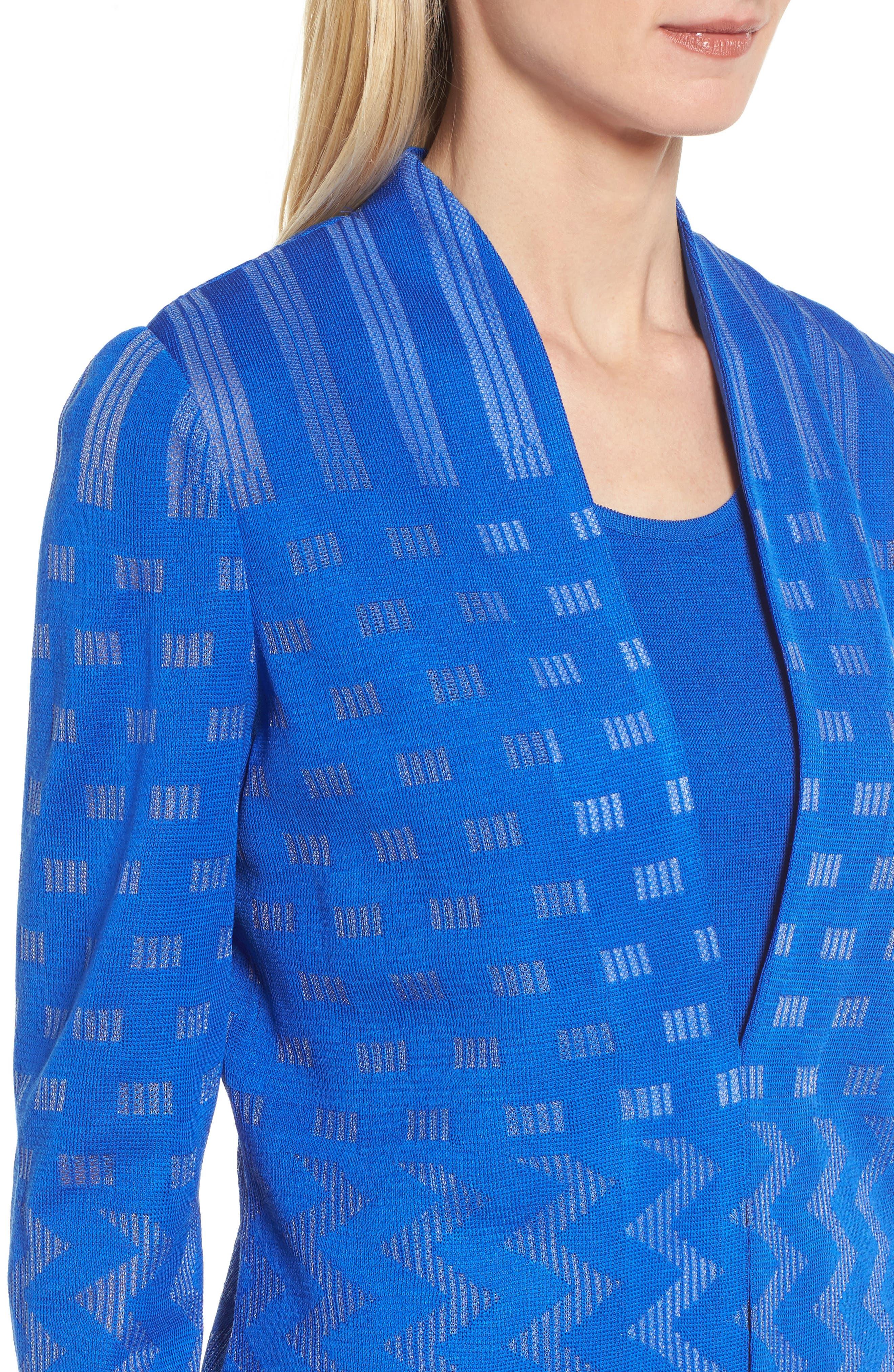 Multi Pattern Long Jacket,                             Alternate thumbnail 4, color,                             Patriot Blue