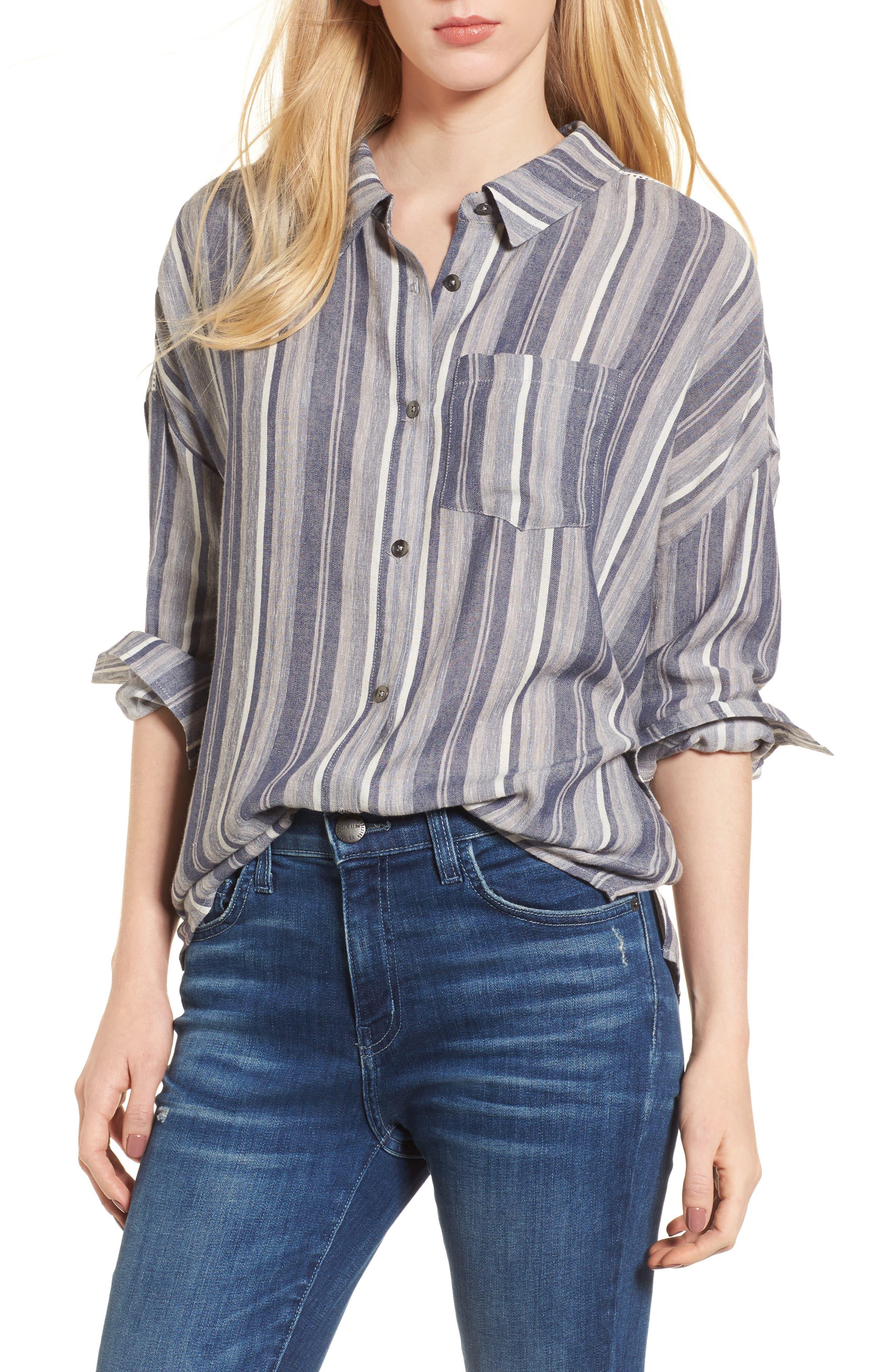 Stripe Chambray Shirt,                         Main,                         color, Multi