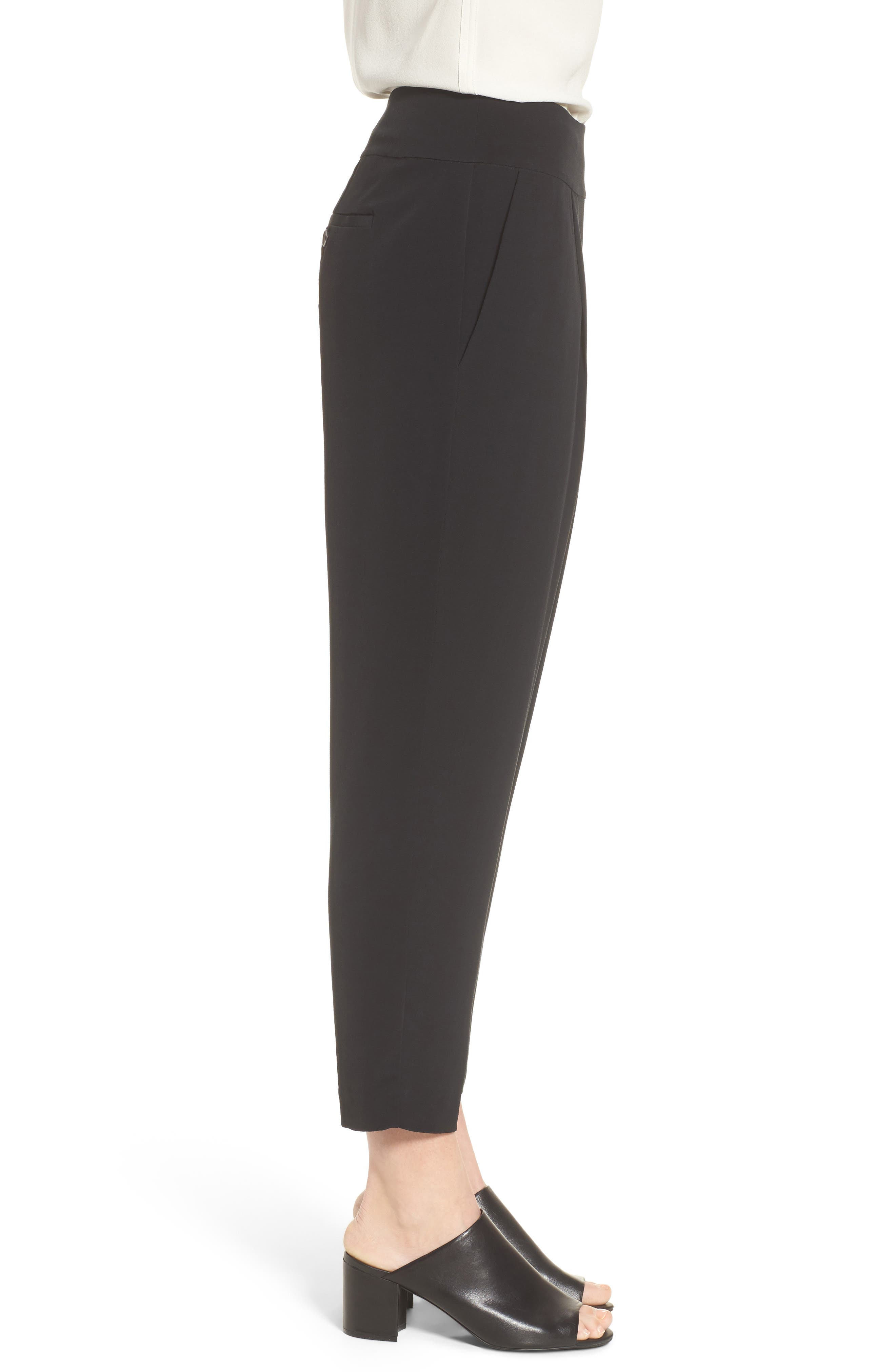 Slouchy Tencel<sup>®</sup> Lyocell Blend Crop Pants,                             Alternate thumbnail 3, color,                             Black