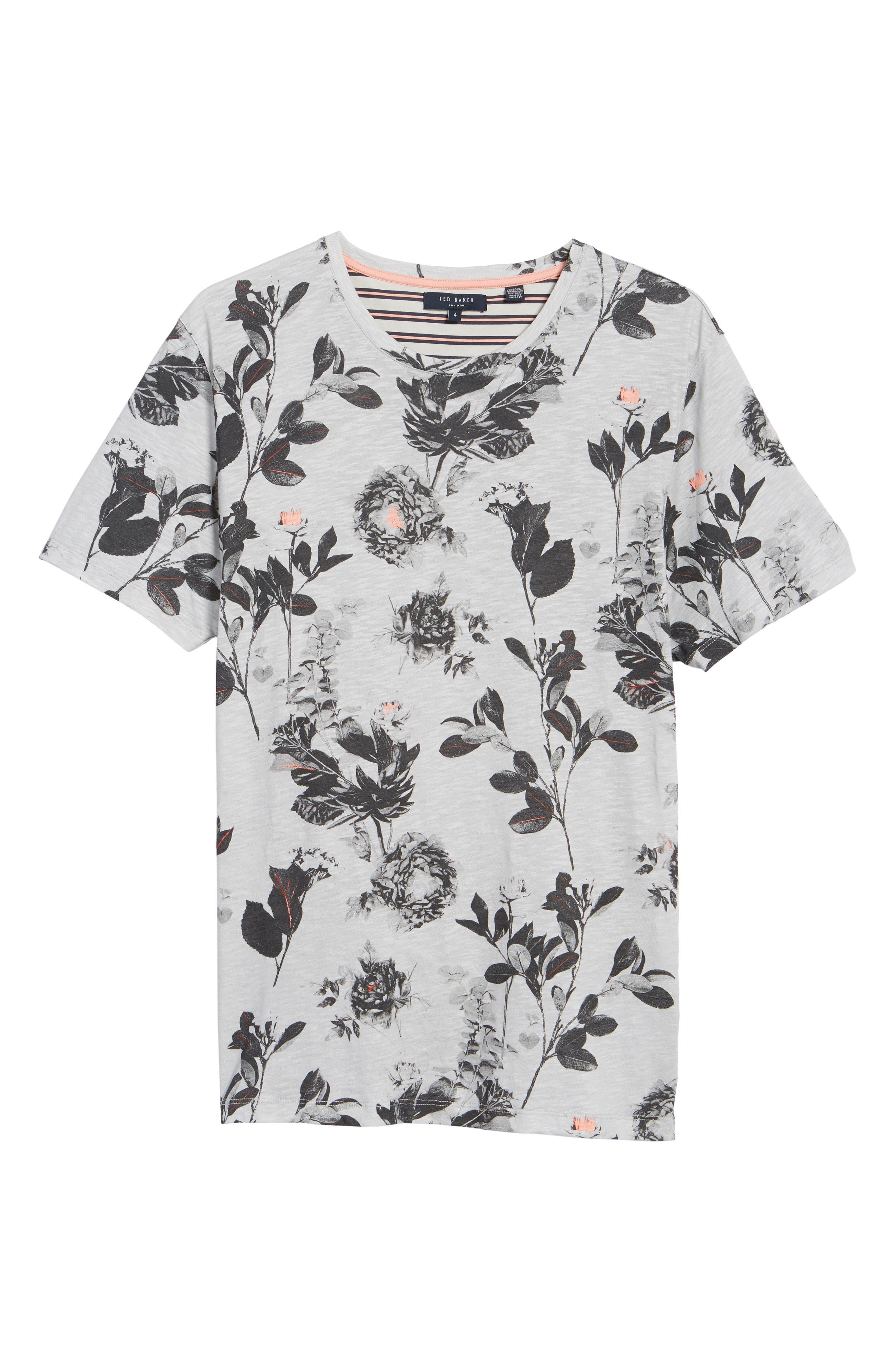 Doberma Trim Fit Floral Print T-Shirt,                             Alternate thumbnail 6, color,                             Grey