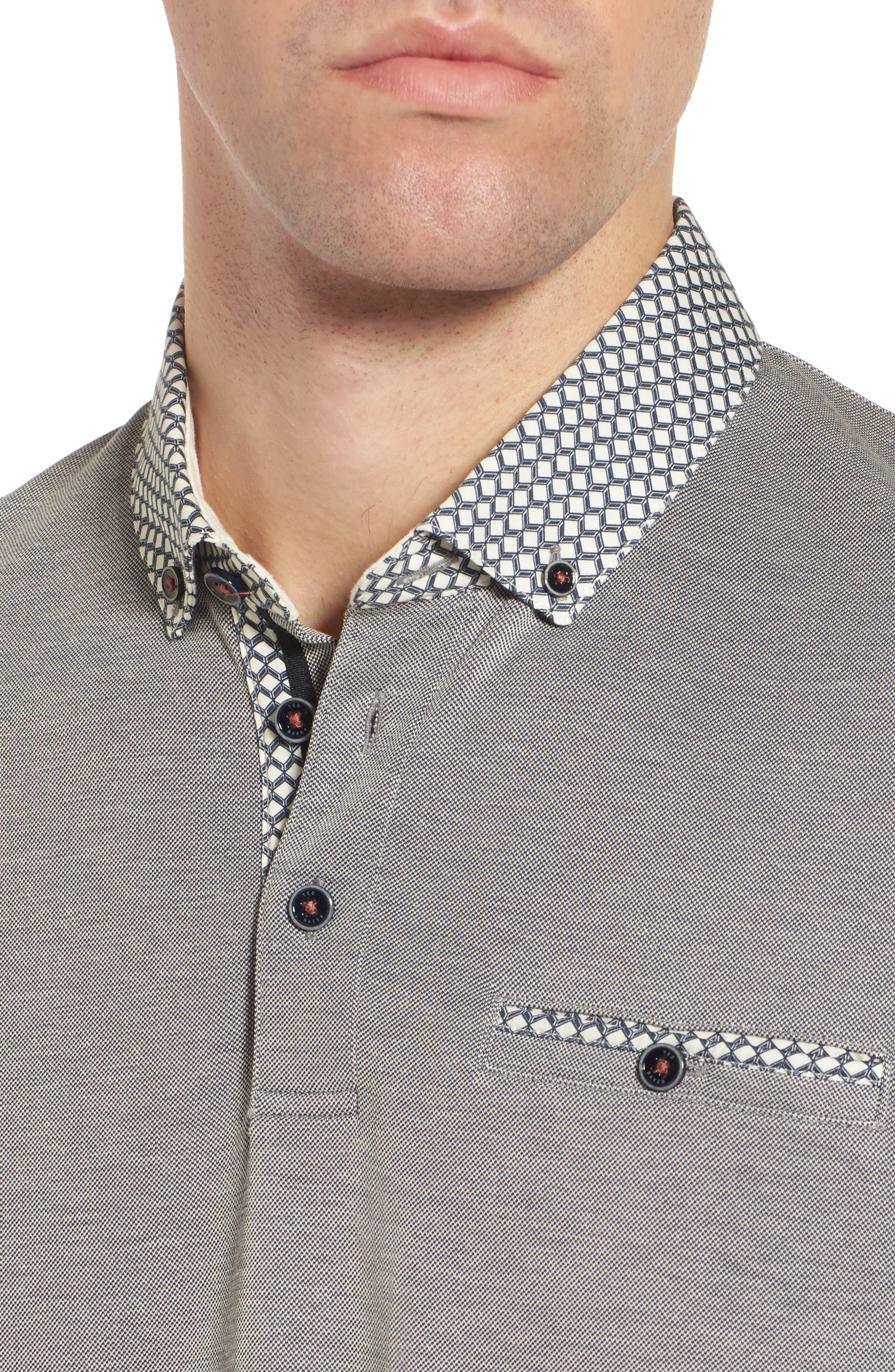Tizu Trim Fit Polo Shirt,                             Alternate thumbnail 4, color,                             Navy
