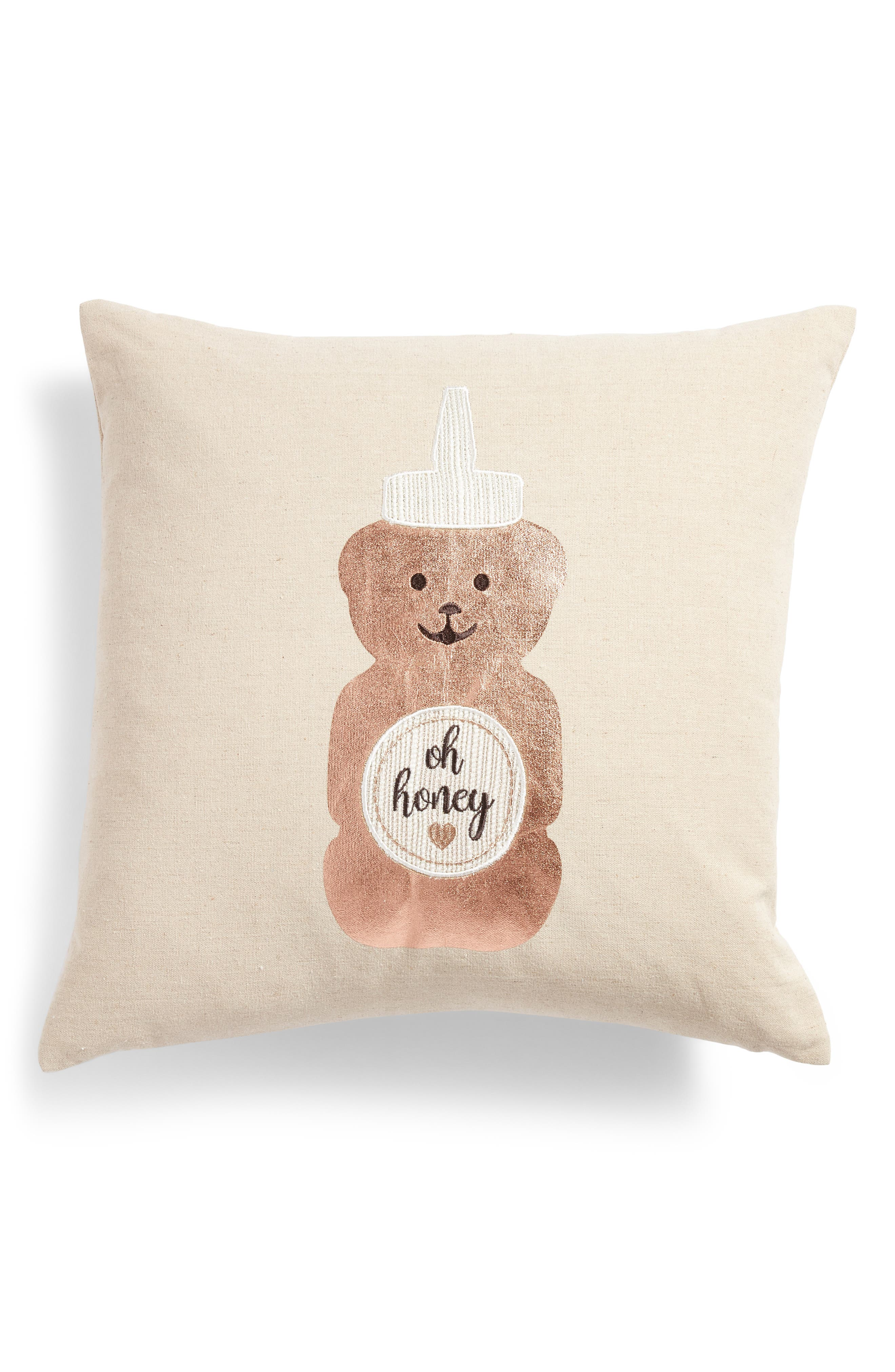Oh Honey Accent Pillow,                         Main,                         color, Grey