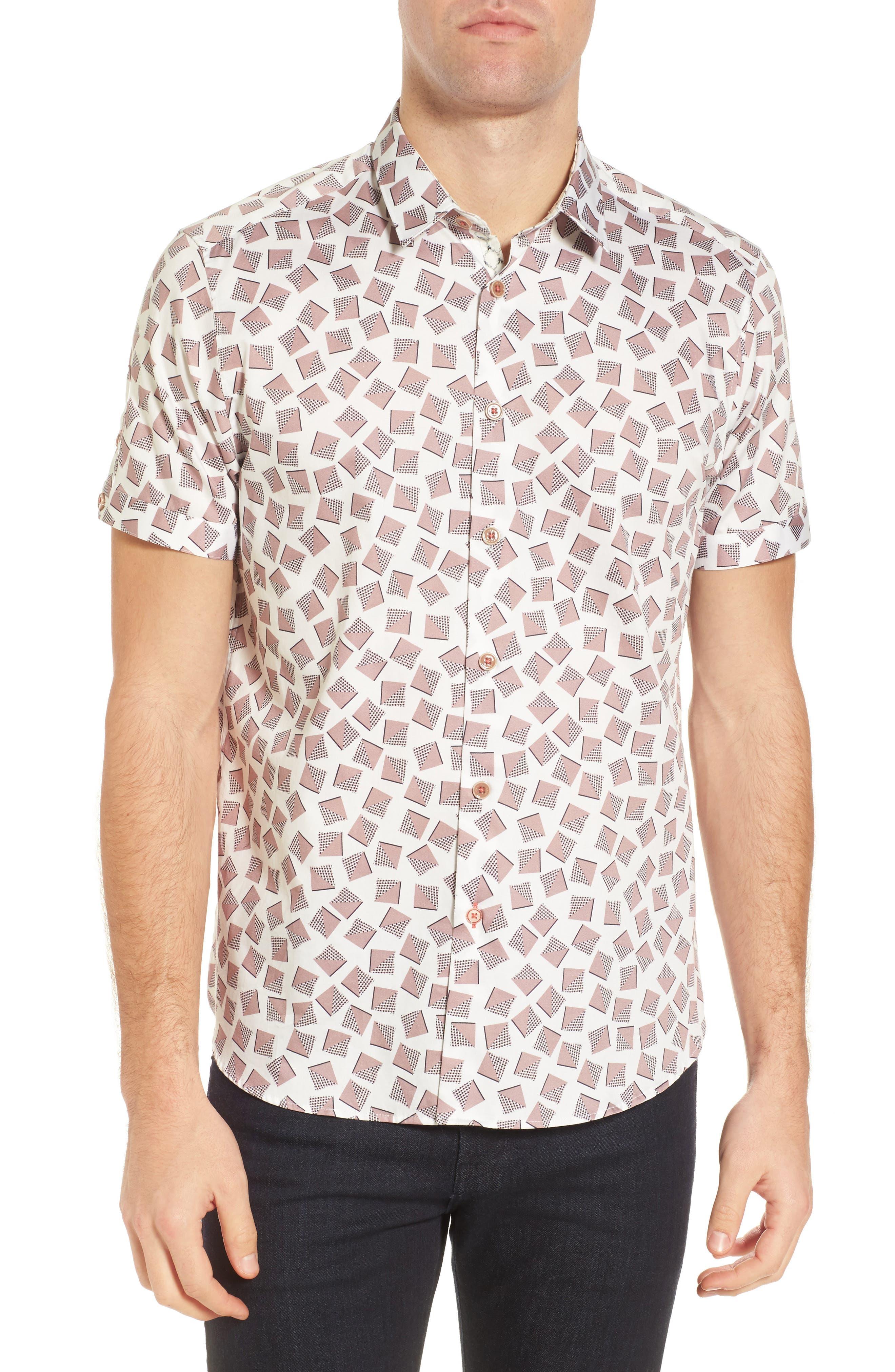 Tern Geo Print Sport Shirt,                         Main,                         color, White