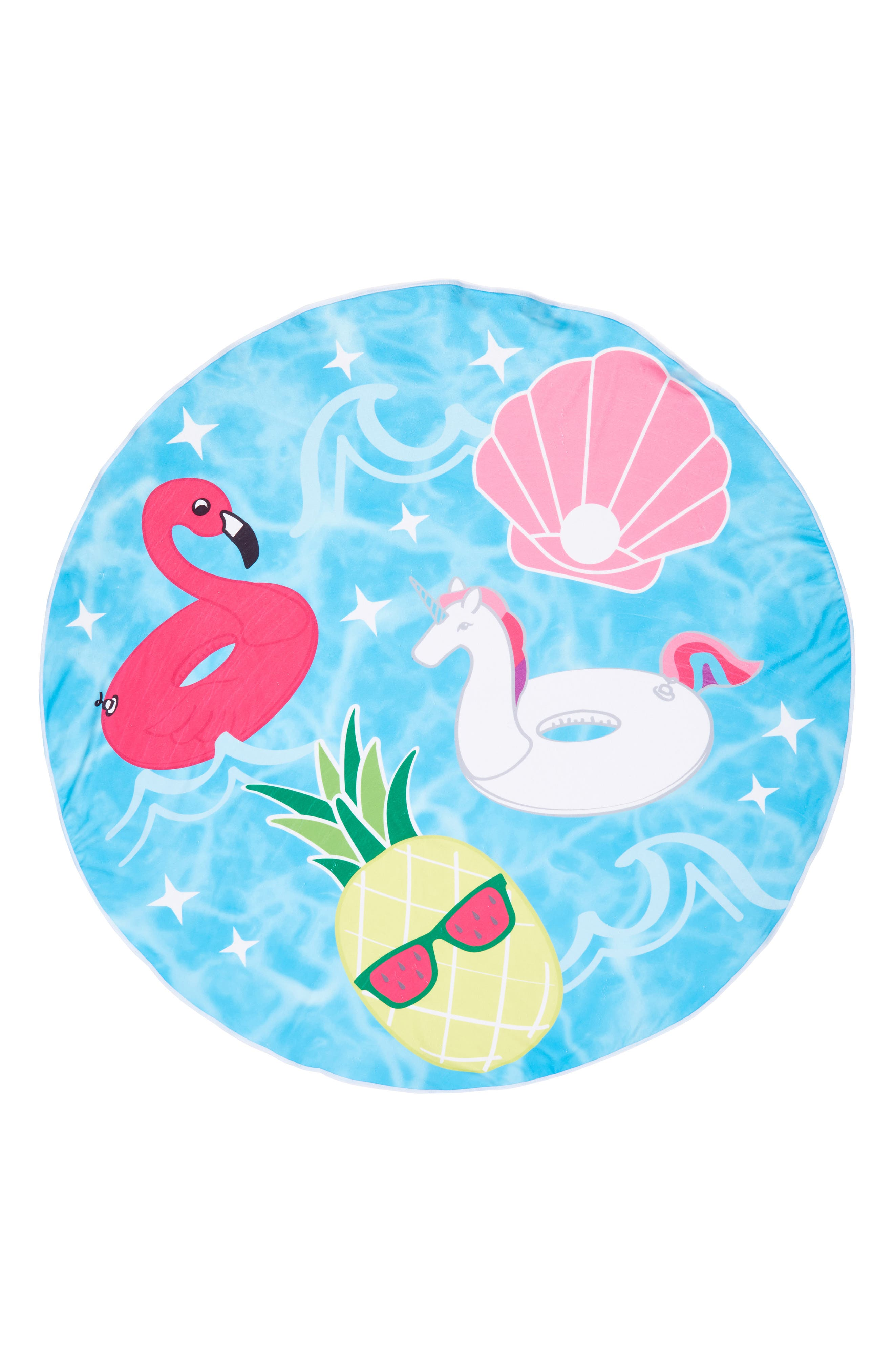 Cool Pool Round Towel,                             Main thumbnail 1, color,                             Cool Pool Floats