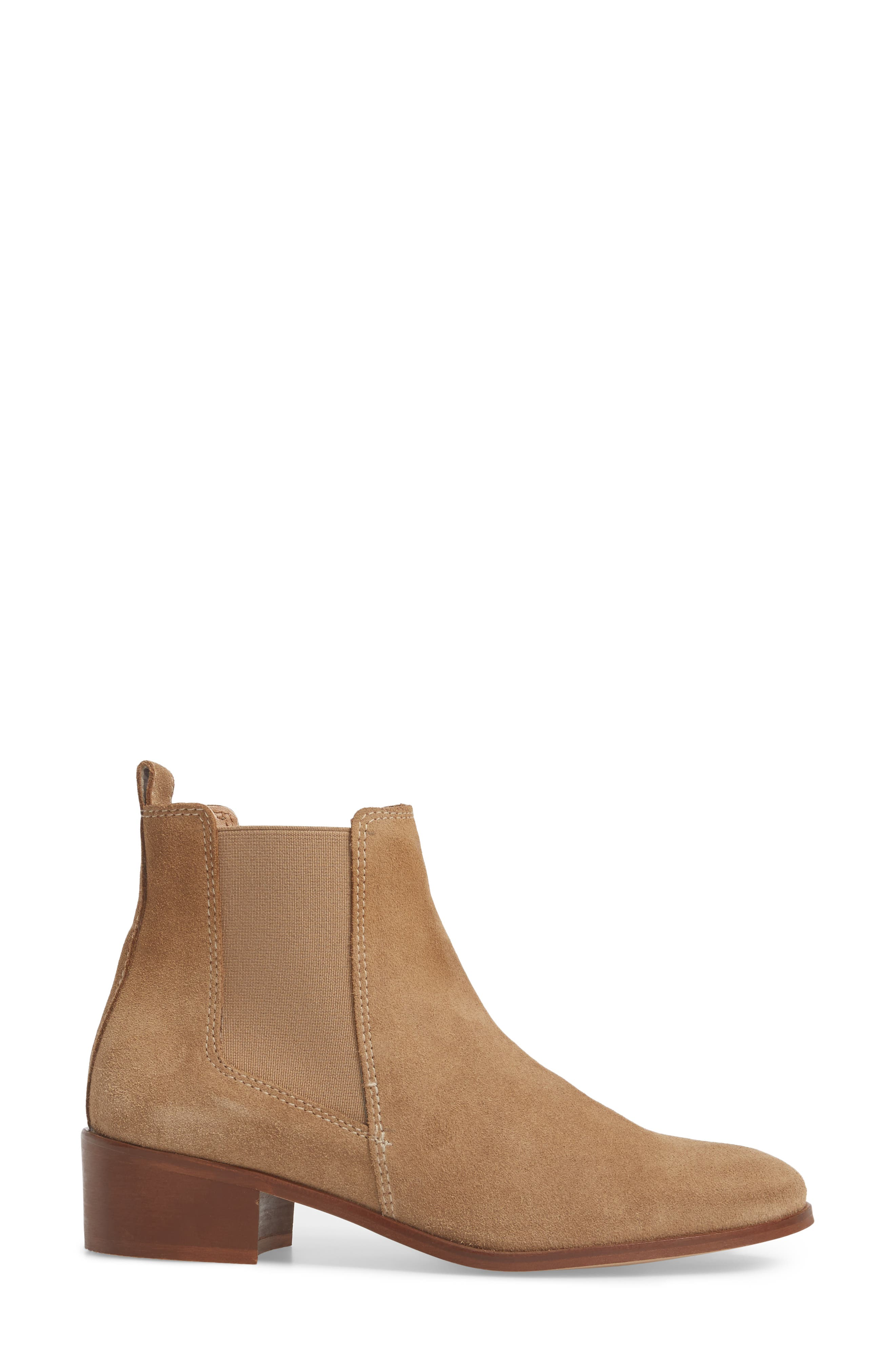 Dover Chelsea Bootie,                             Alternate thumbnail 3, color,                             Taupe Suede