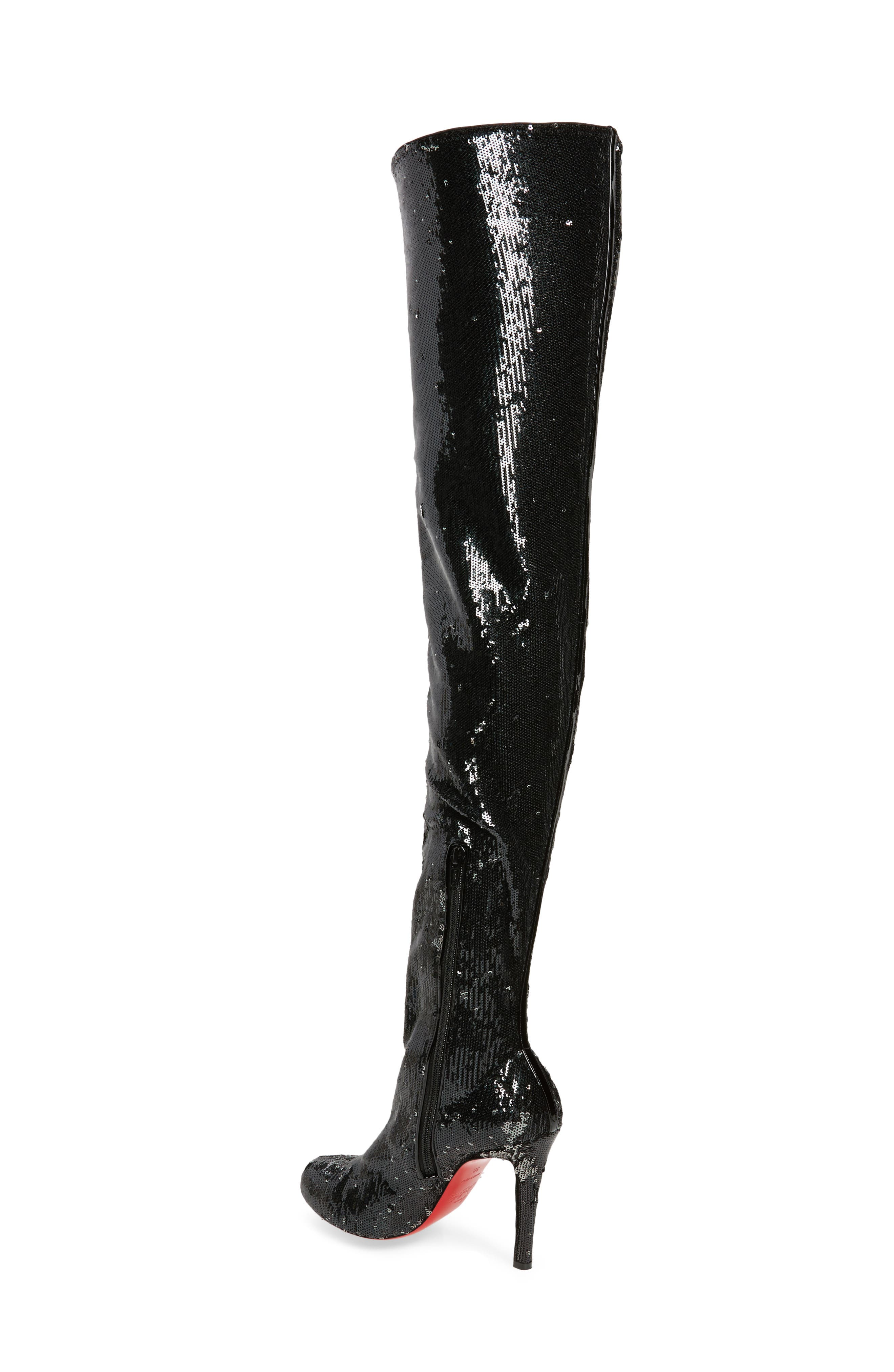 Louise Sequin Thigh High Boot,                             Alternate thumbnail 2, color,                             Black/ Silver