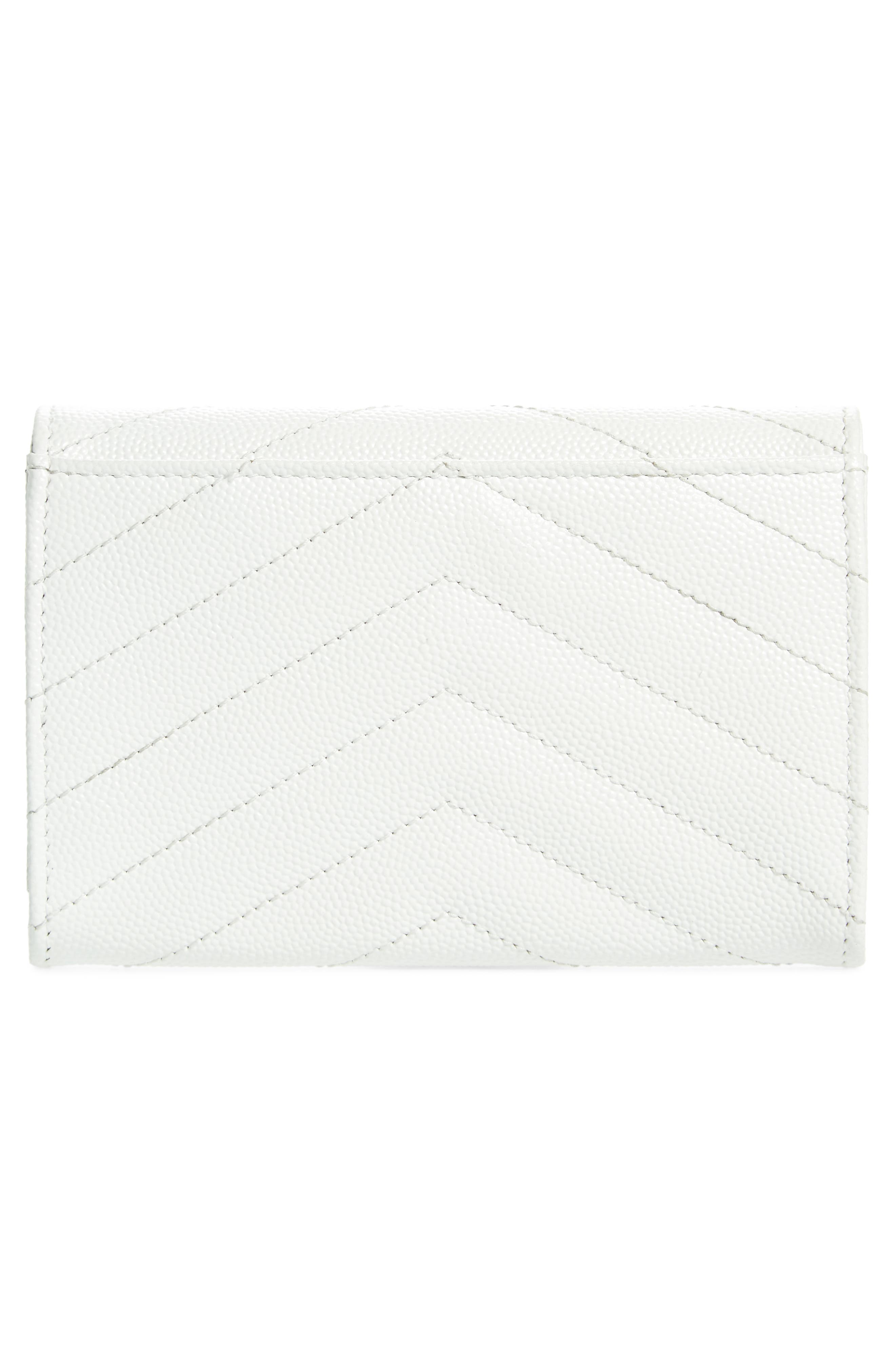 'Small Monogram' Leather French Wallet,                             Alternate thumbnail 4, color,                             Optic White