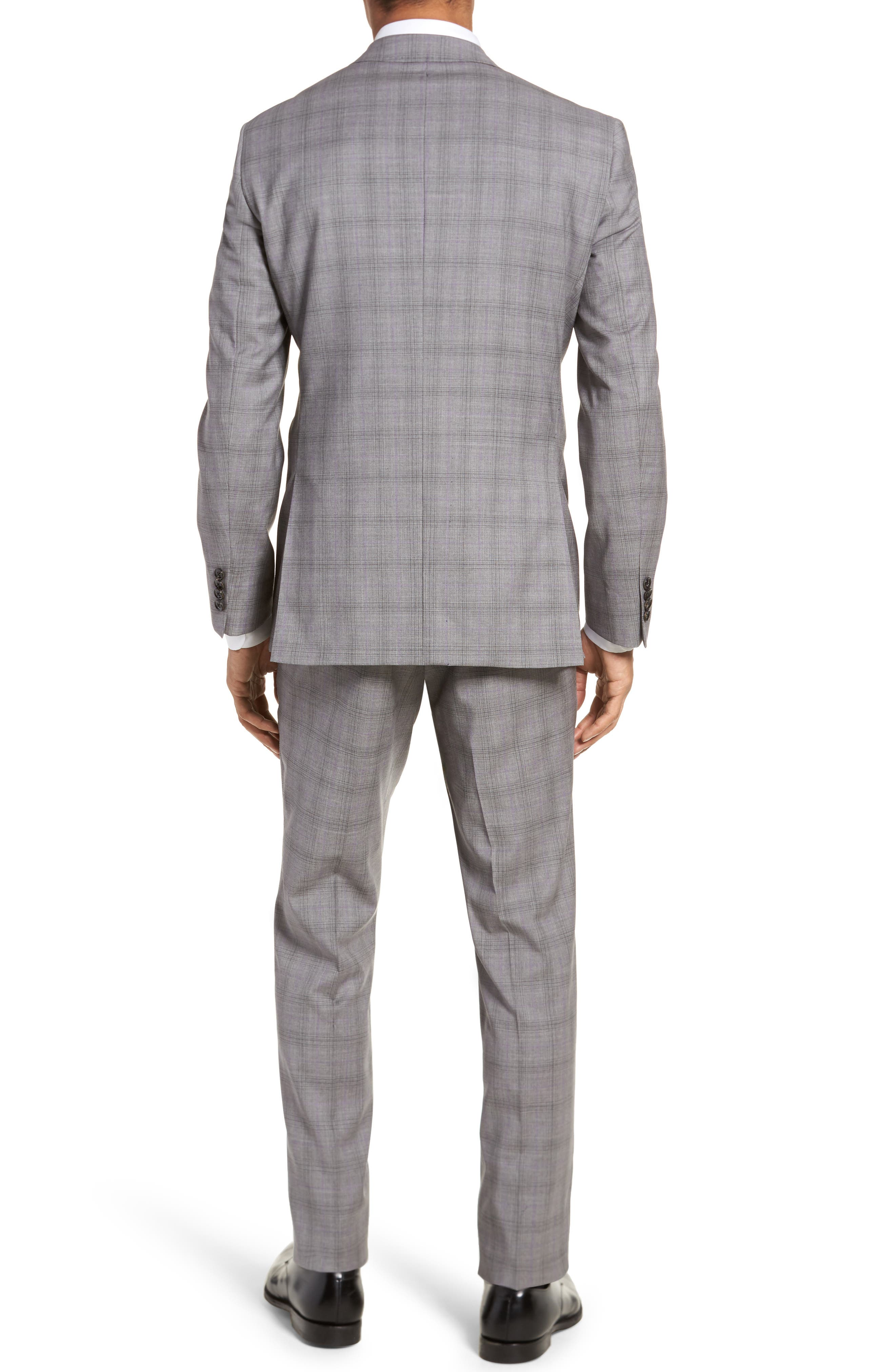 Jay Trim Fit Plaid Wool Suit,                             Alternate thumbnail 2, color,                             Light Grey