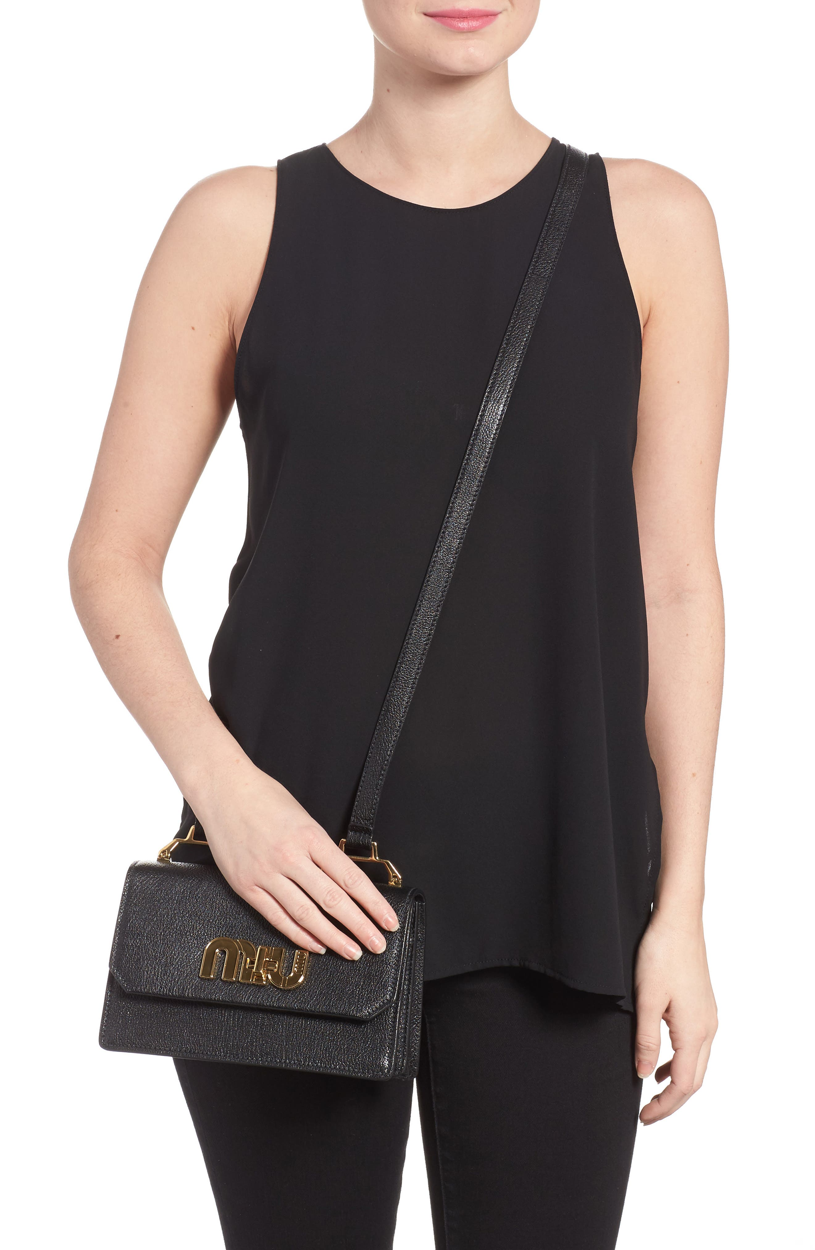 Madras Leather Crossbody Bag,                             Alternate thumbnail 2, color,                             Nero