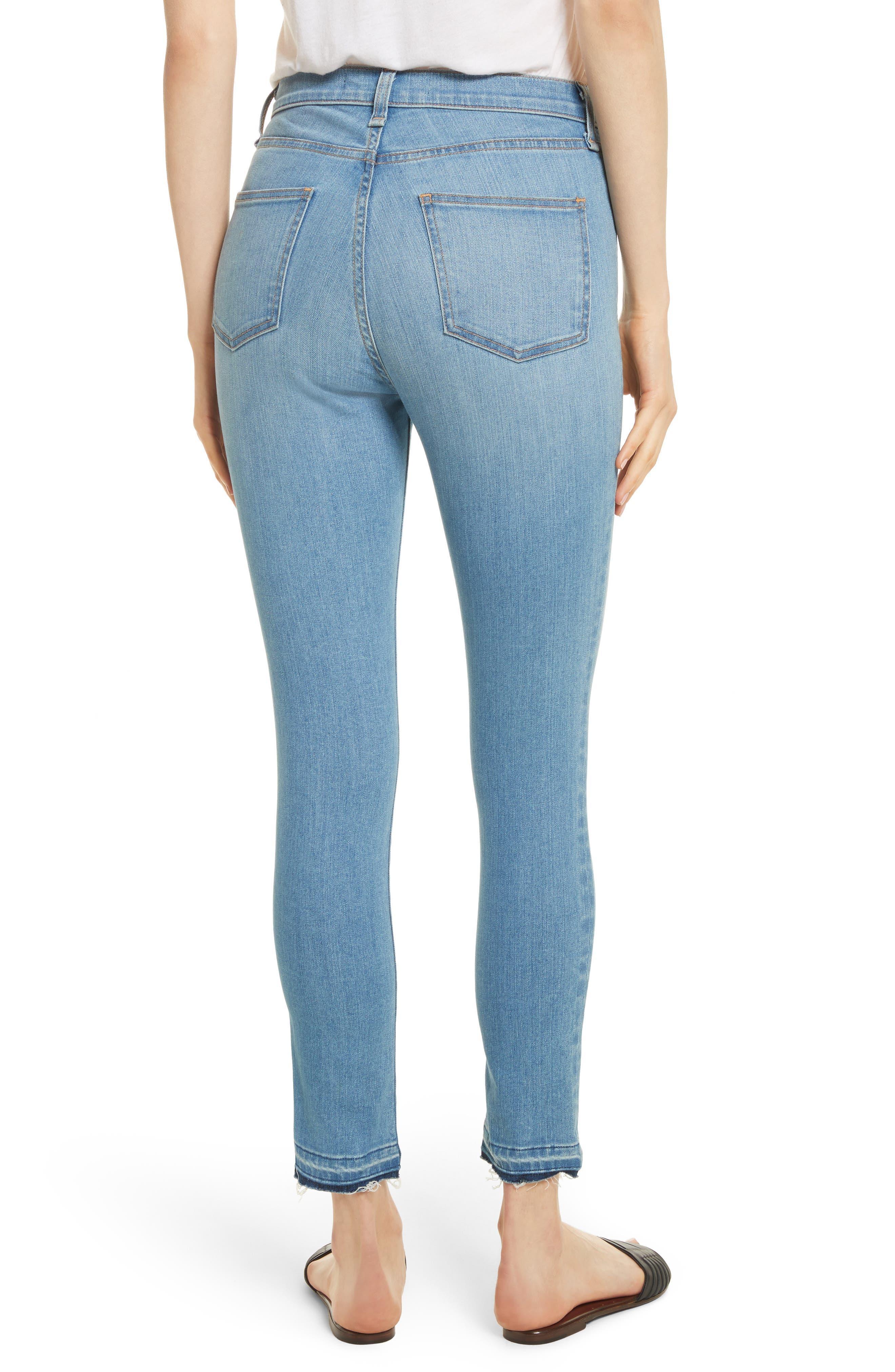 Debbie Frayed Crop Skinny Jeans,                             Alternate thumbnail 2, color,                             Ocean Blue