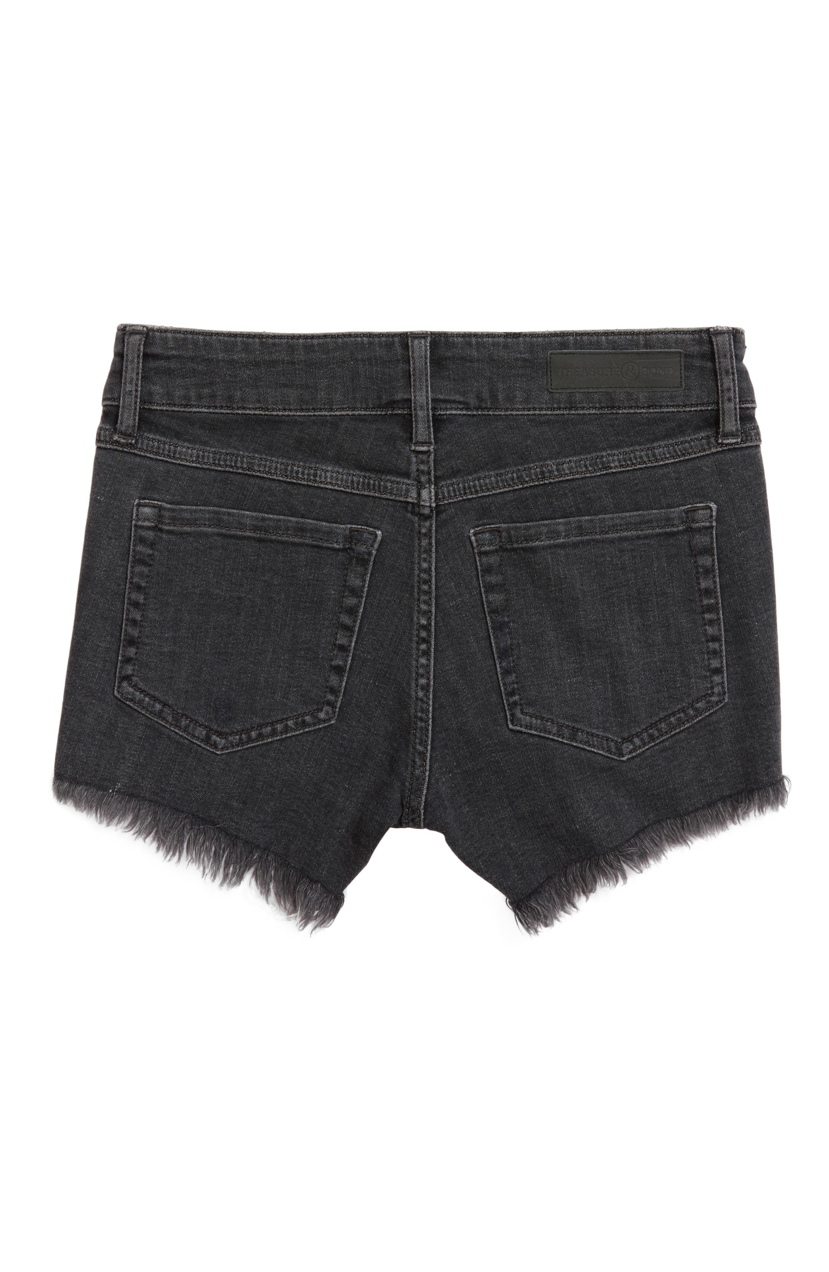 Distressed Cutoff Denim Shorts,                             Alternate thumbnail 2, color,                             Black Vintage Wash