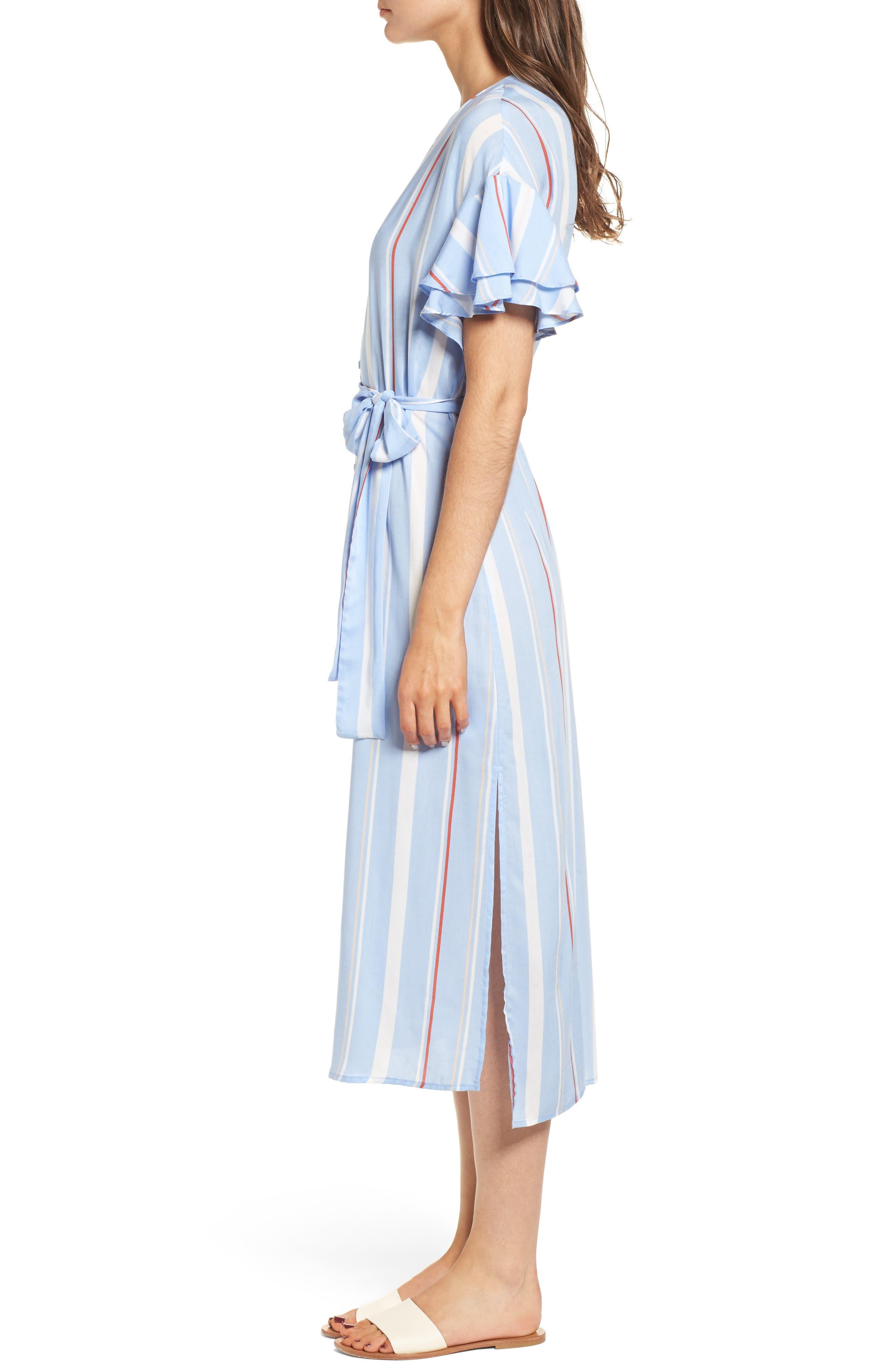 Button Down Midi Shirtdress,                             Alternate thumbnail 3, color,                             Light Blue-Rust