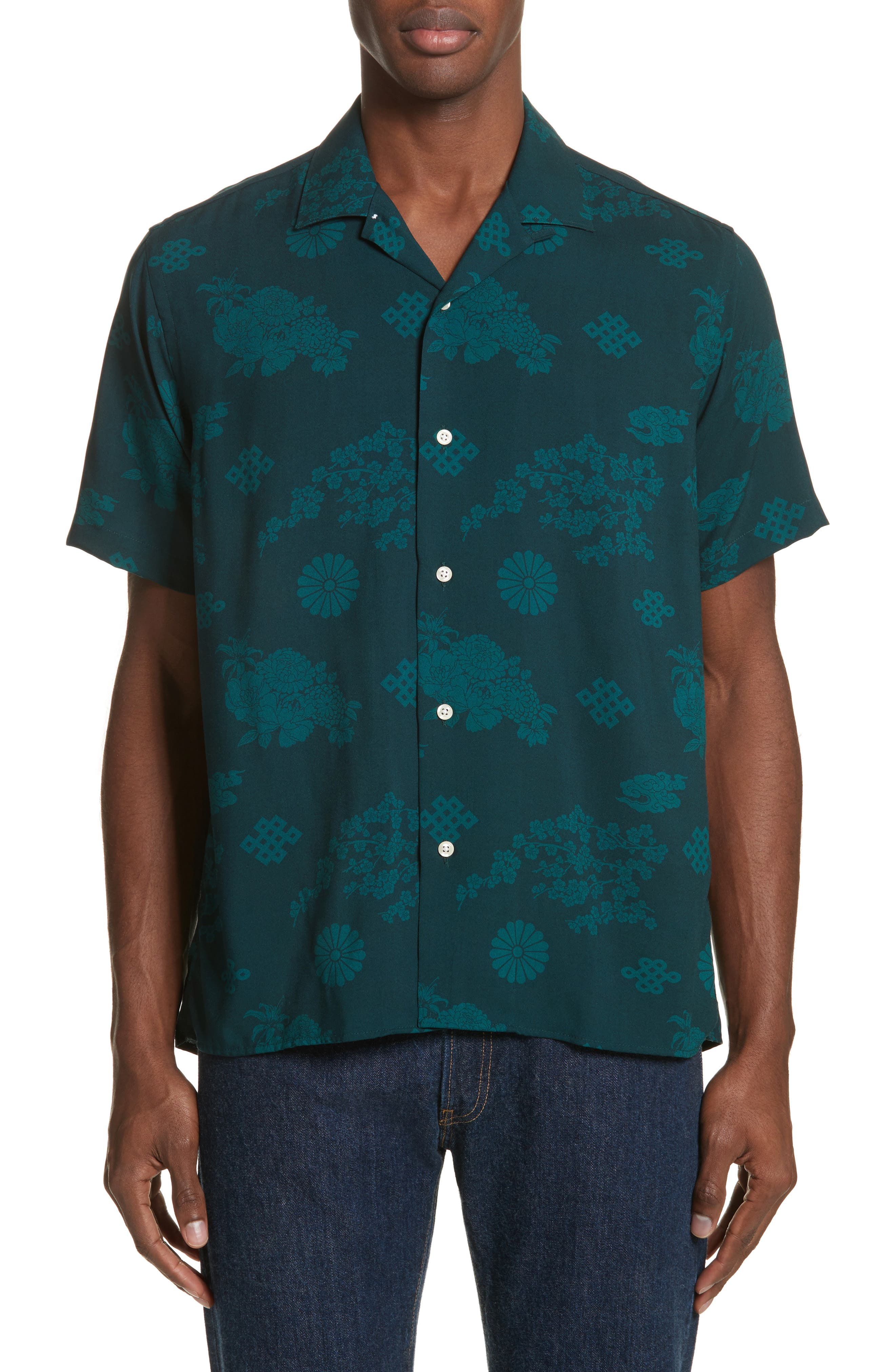 x The North Face Men's Floral Print Camp Shirt,                             Alternate thumbnail 2, color,                             Green Ground