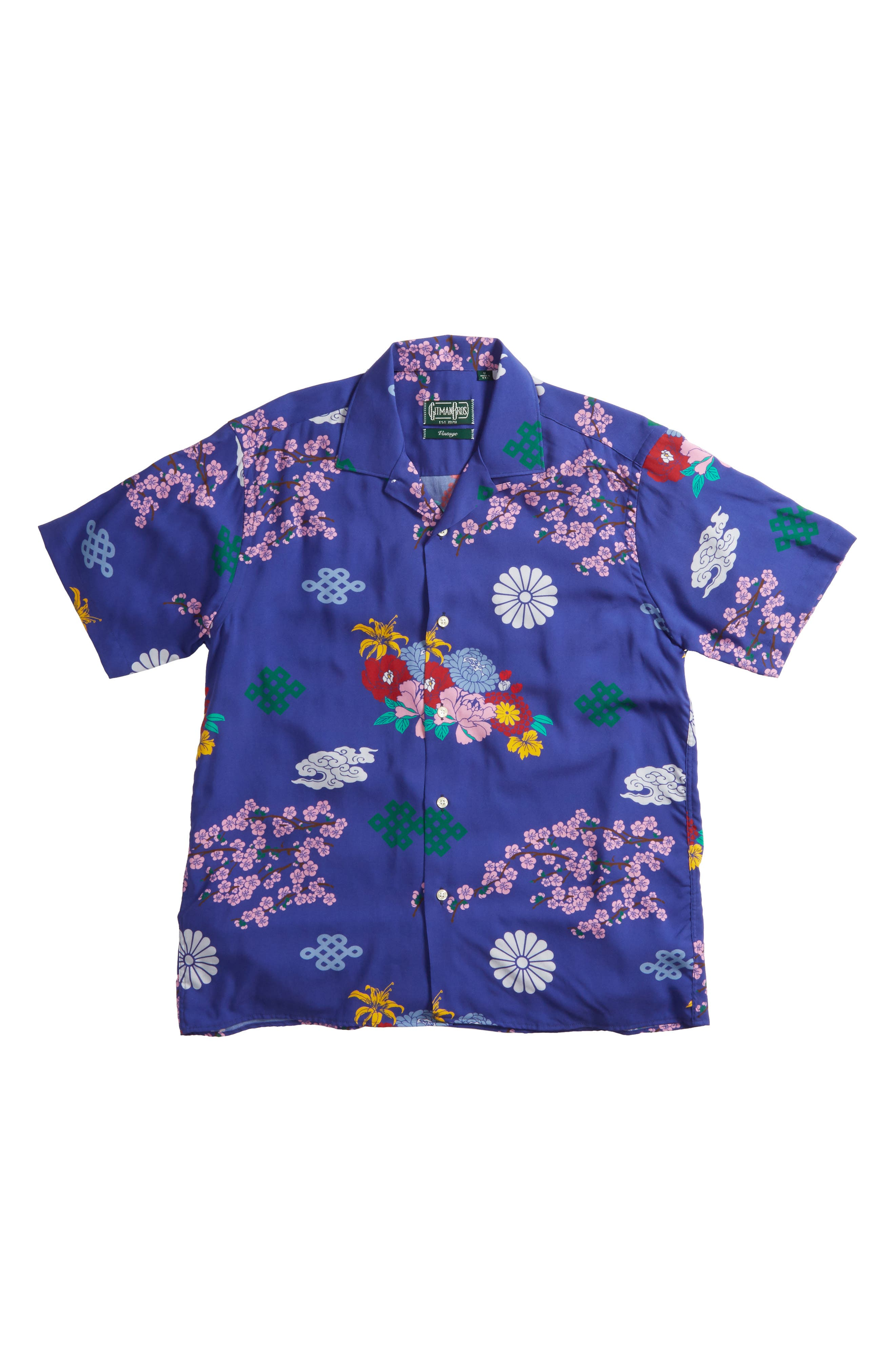 x The North Face Men's Floral Print Camp Shirt,                         Main,                         color, Blue Ground