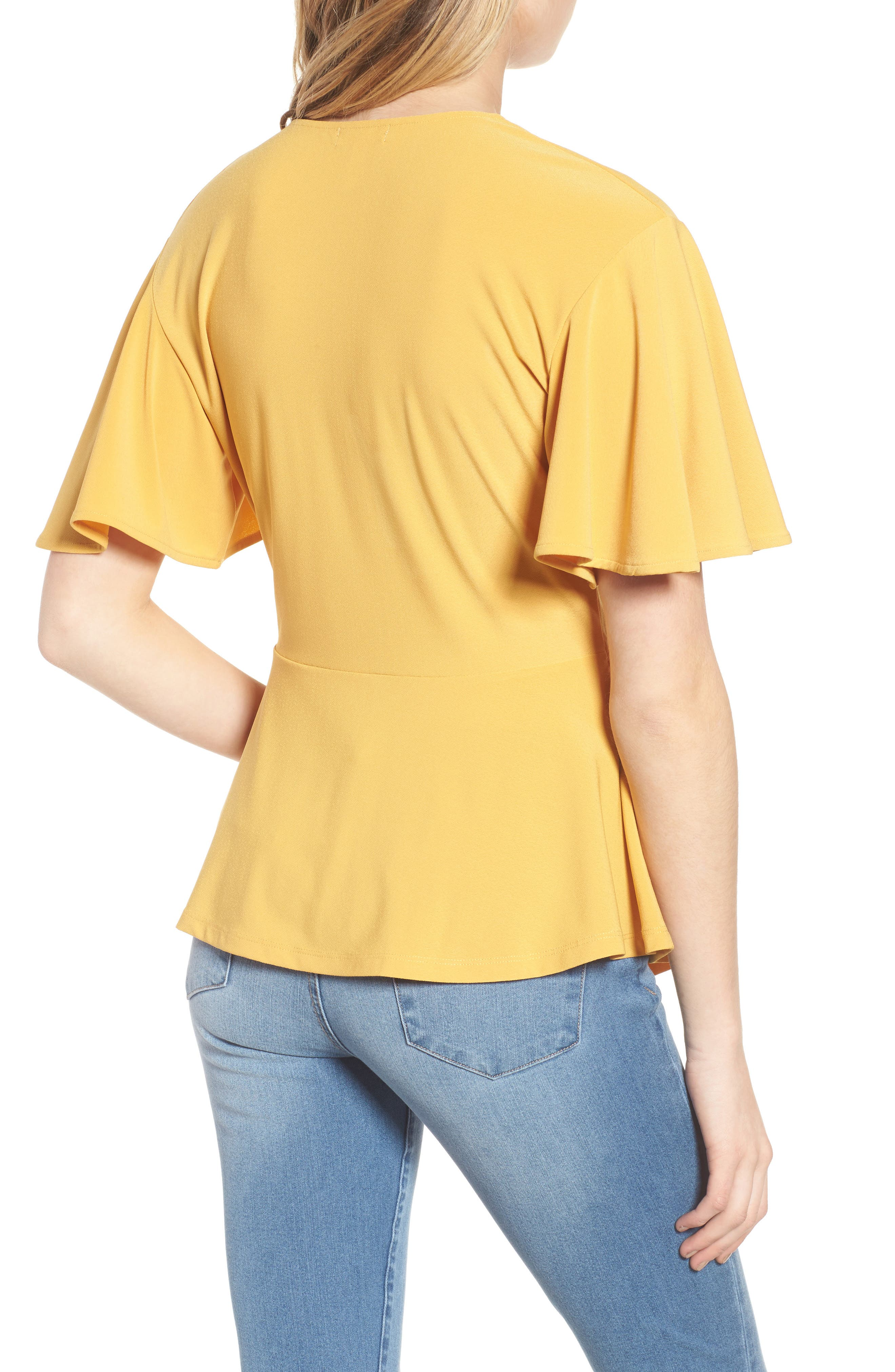 Flounce Sleeve Faux Wrap Top,                             Alternate thumbnail 2, color,                             Yellow Mineral
