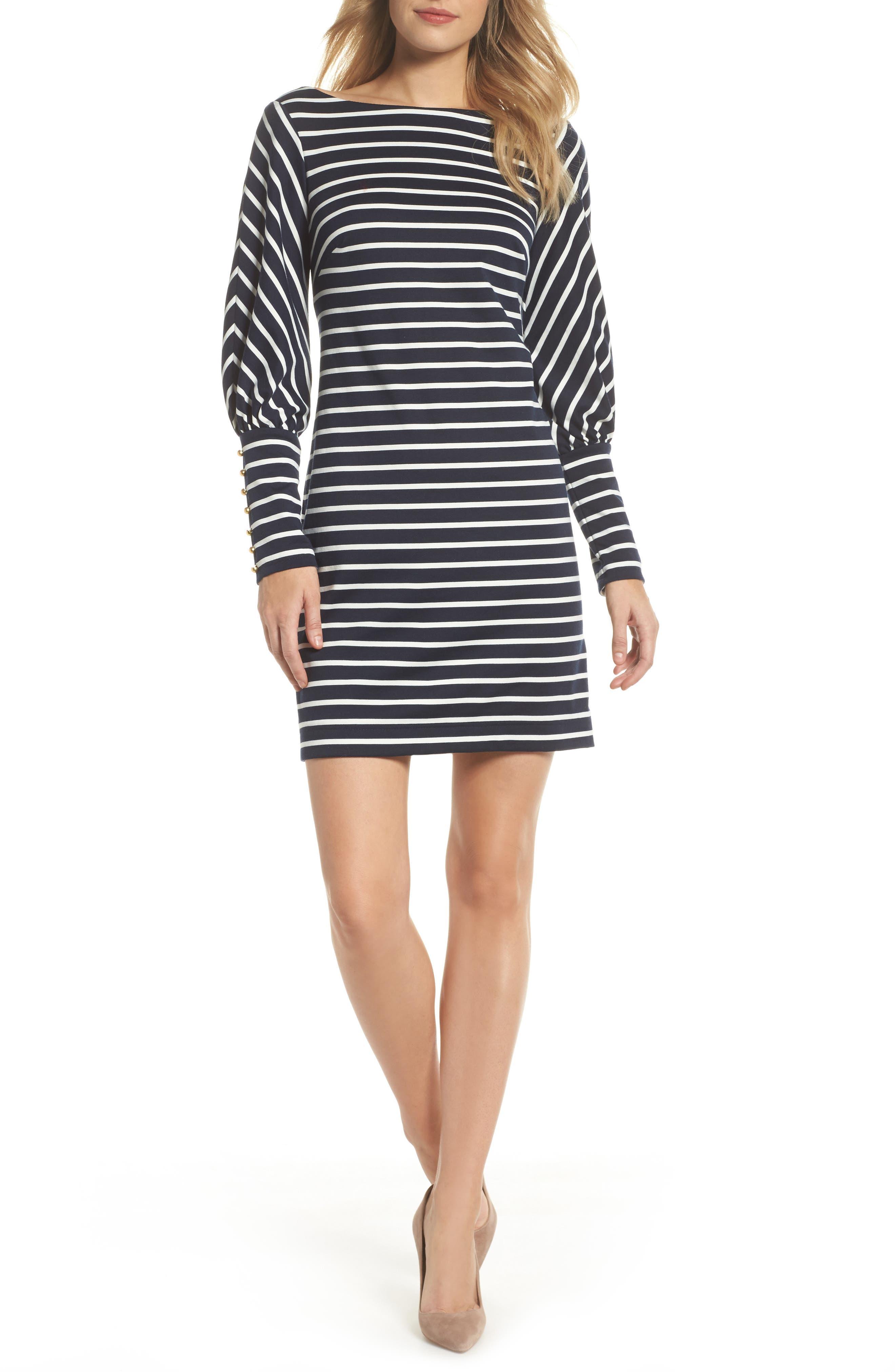 Puff Sleeve Shift Dress,                         Main,                         color, Navy/ Ivory