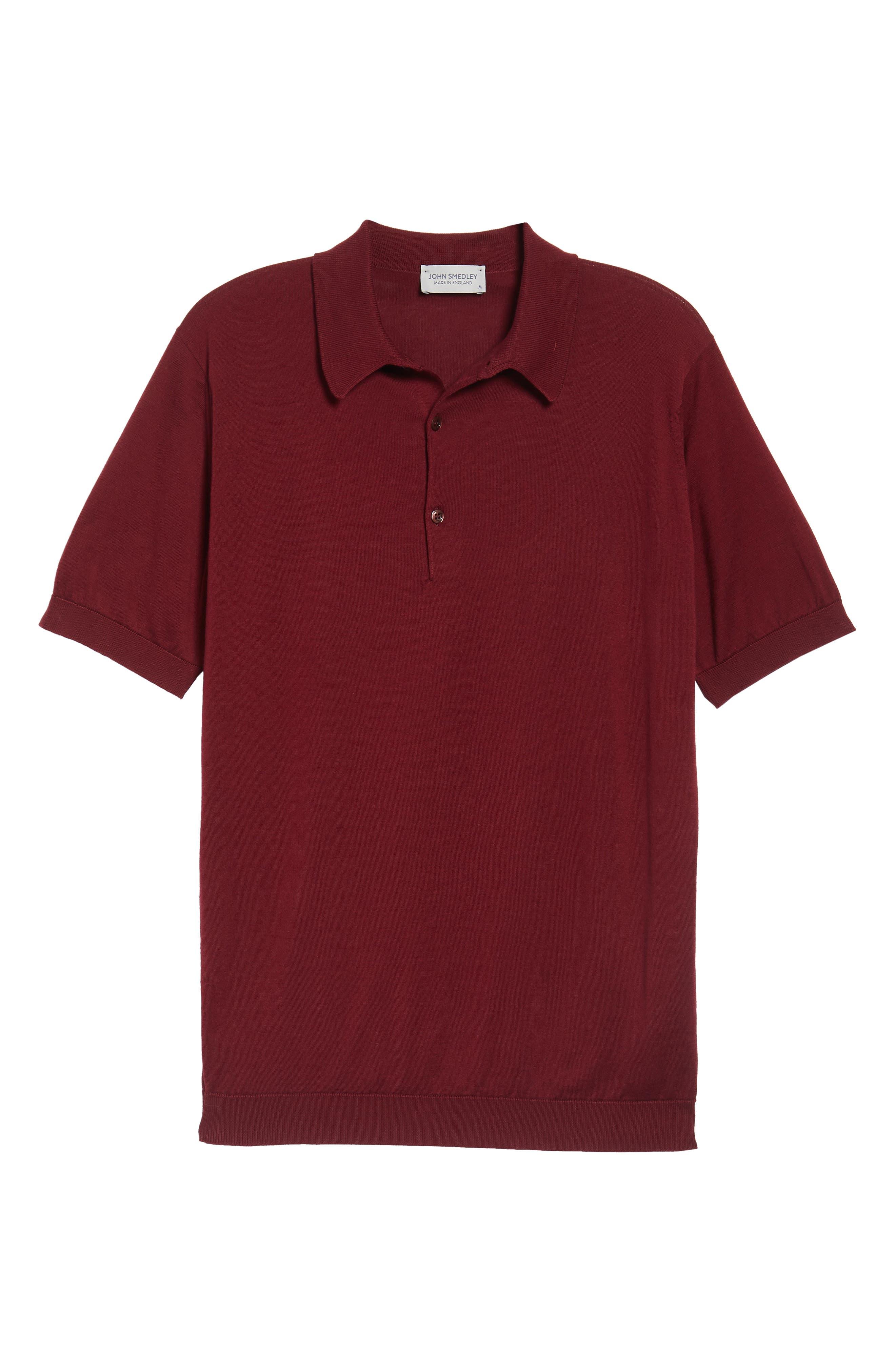Jersey Polo,                             Alternate thumbnail 6, color,                             Burgundy Grain