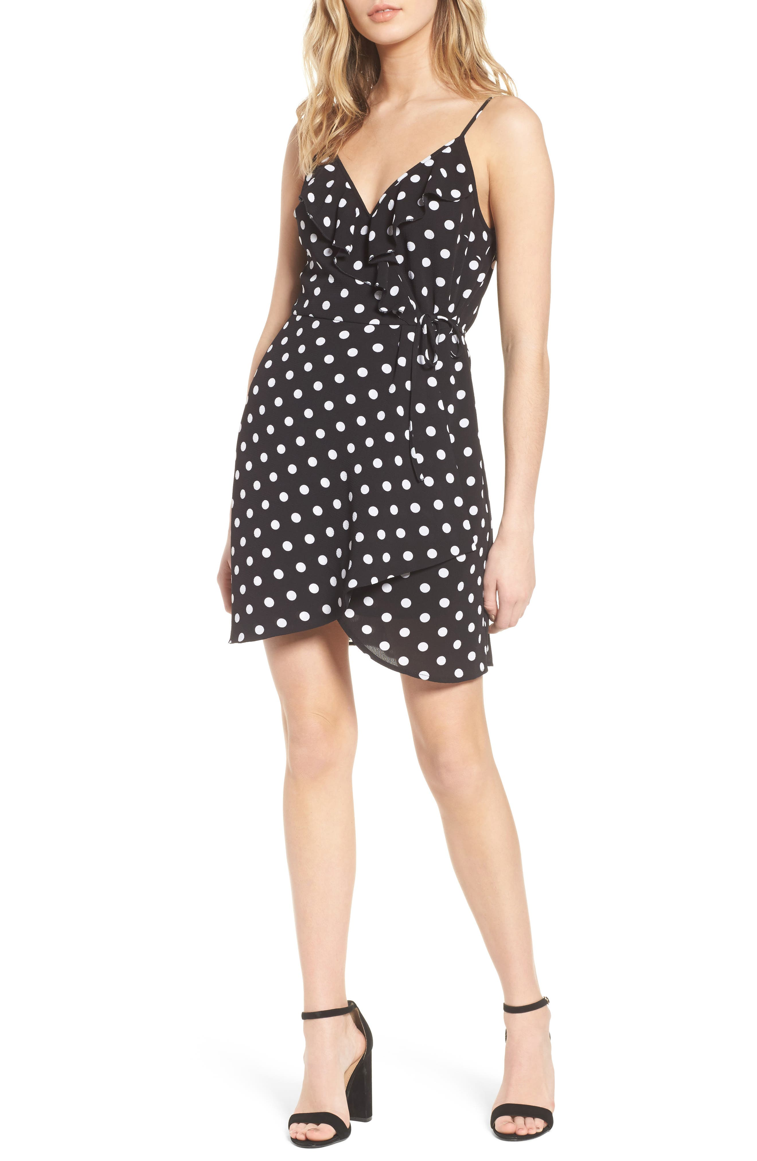 Polka Dot Faux Wrap Dress,                         Main,                         color, Black/ Ivory