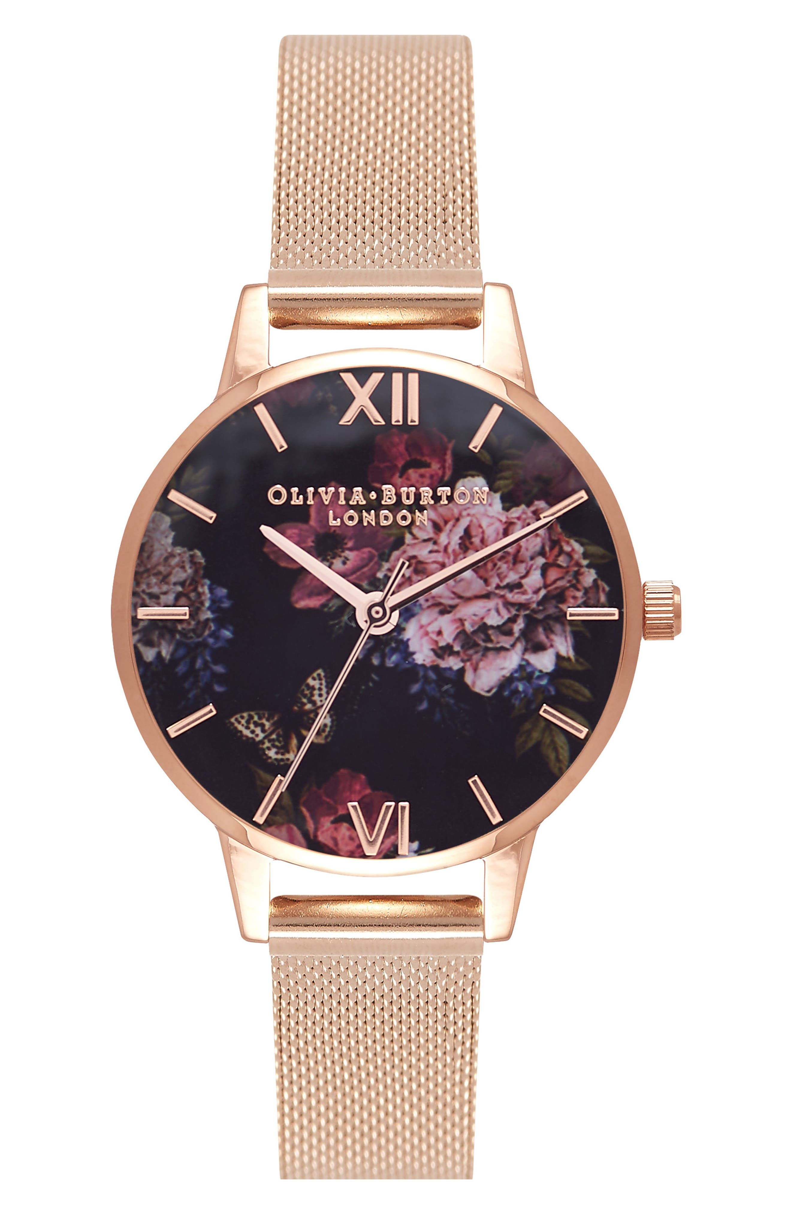 Dark Bouquet Mesh Strap Watch, 30mm,                             Main thumbnail 1, color,                             Rose Gold/ Black/ Rose Gold