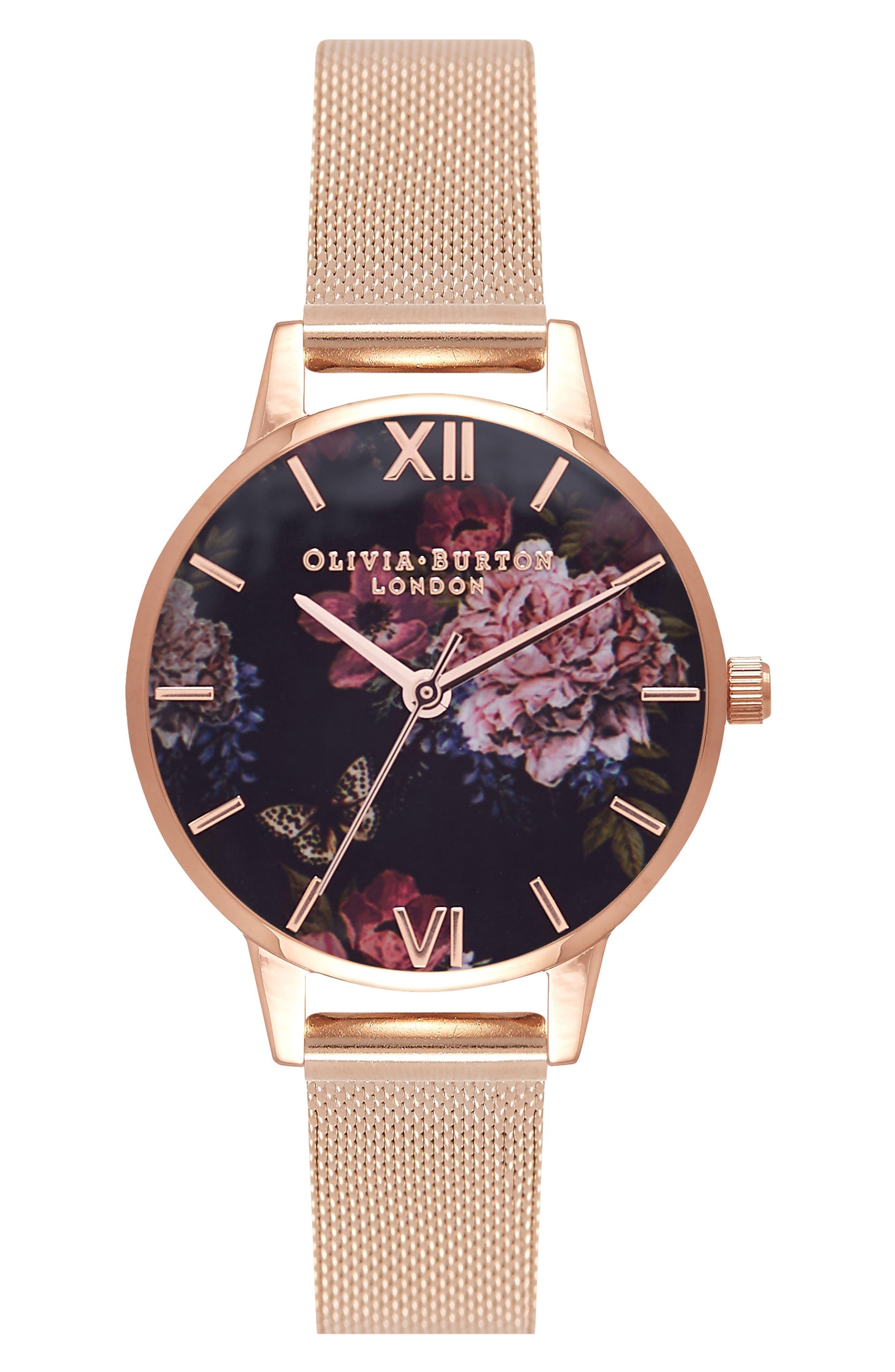 Dark Bouquet Mesh Strap Watch, 30mm,                         Main,                         color, Rose Gold/ Black/ Rose Gold