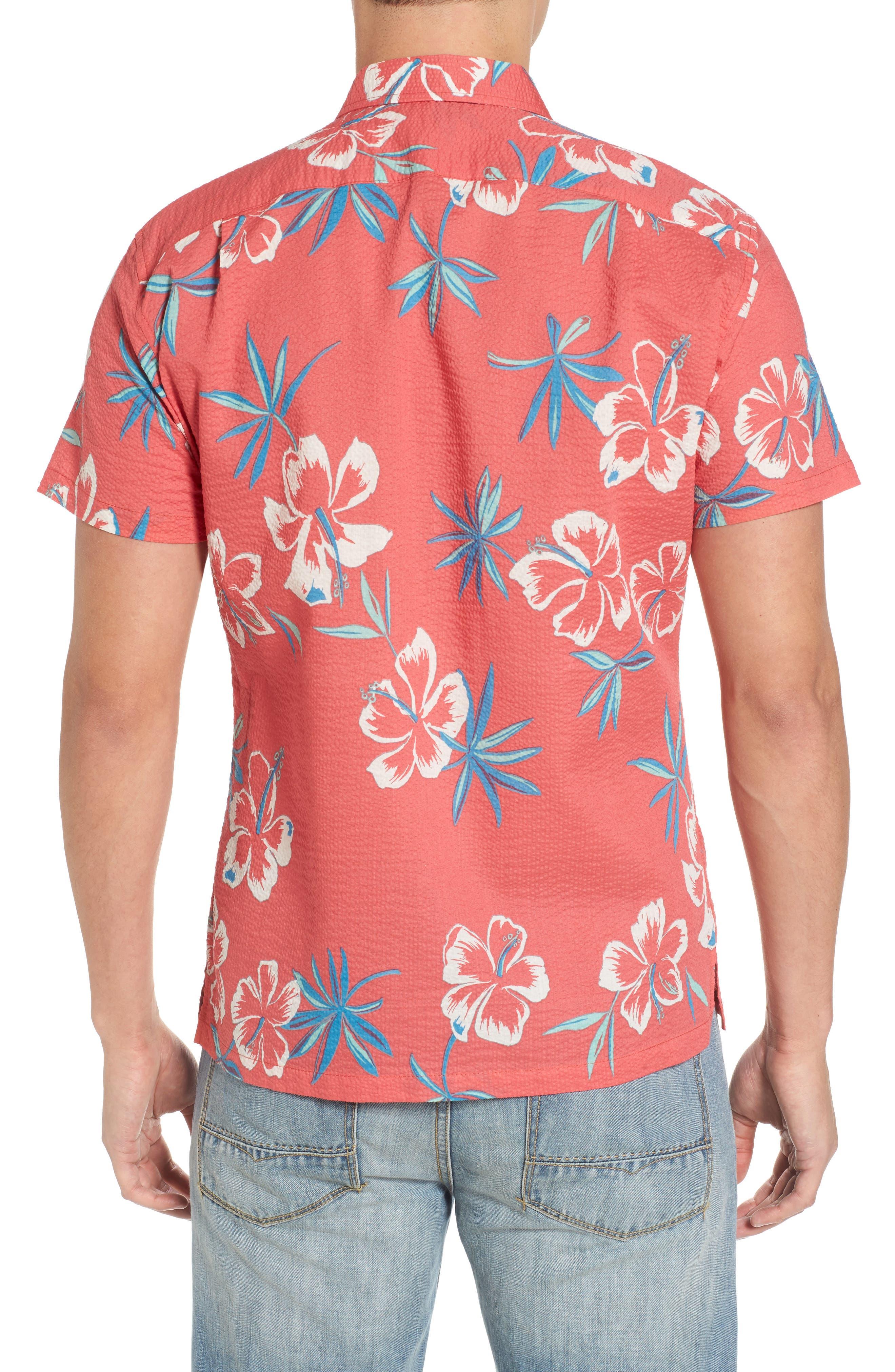 So Fresh Trim Fit Cotton Lawn Sport Shirt,                             Alternate thumbnail 2, color,                             Guava