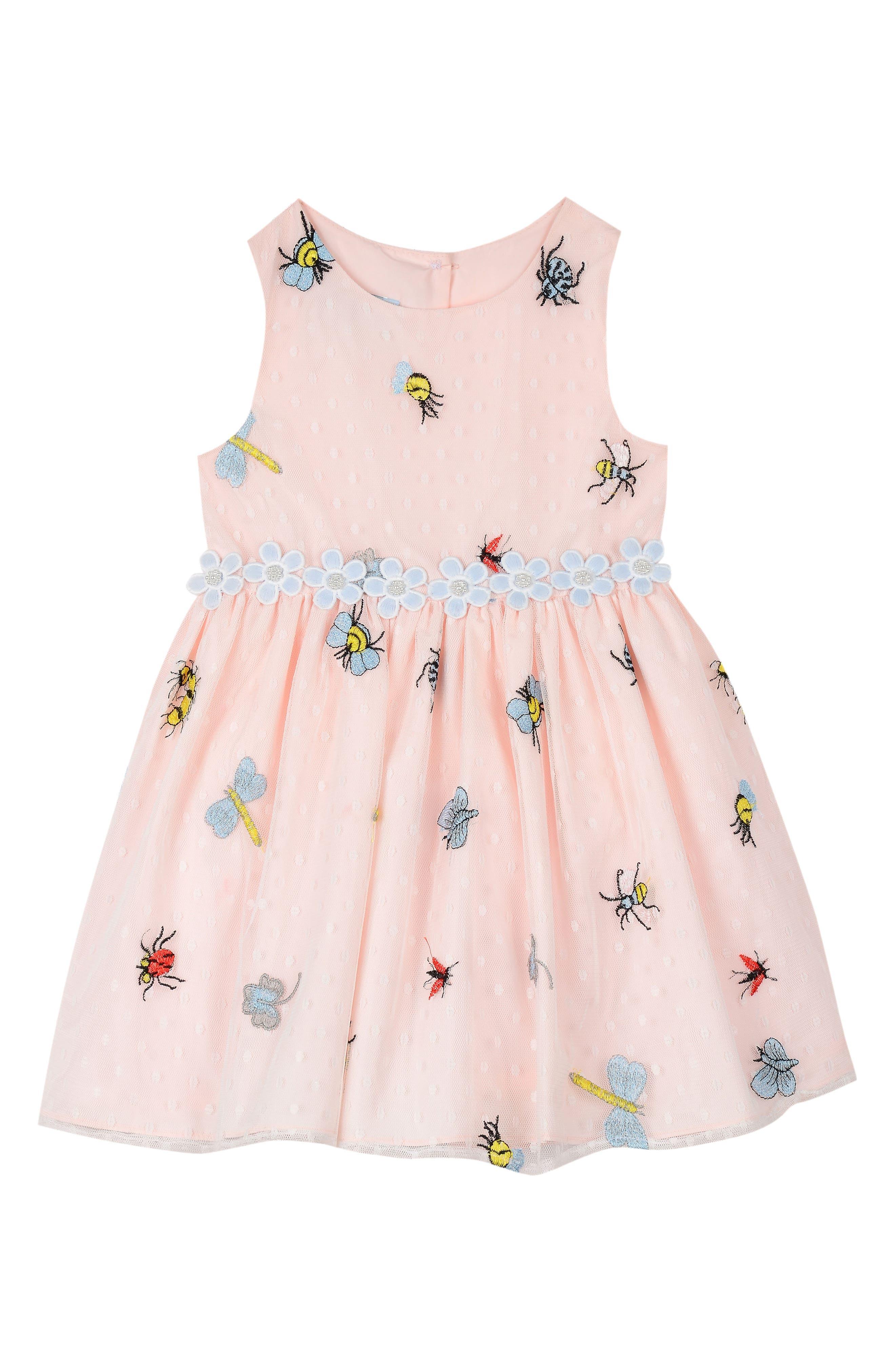 Main Image - Pippa & Julie Embroidered Mesh Fit & Flare Dress (Toddler Girls, Little Girls & Big Girls)