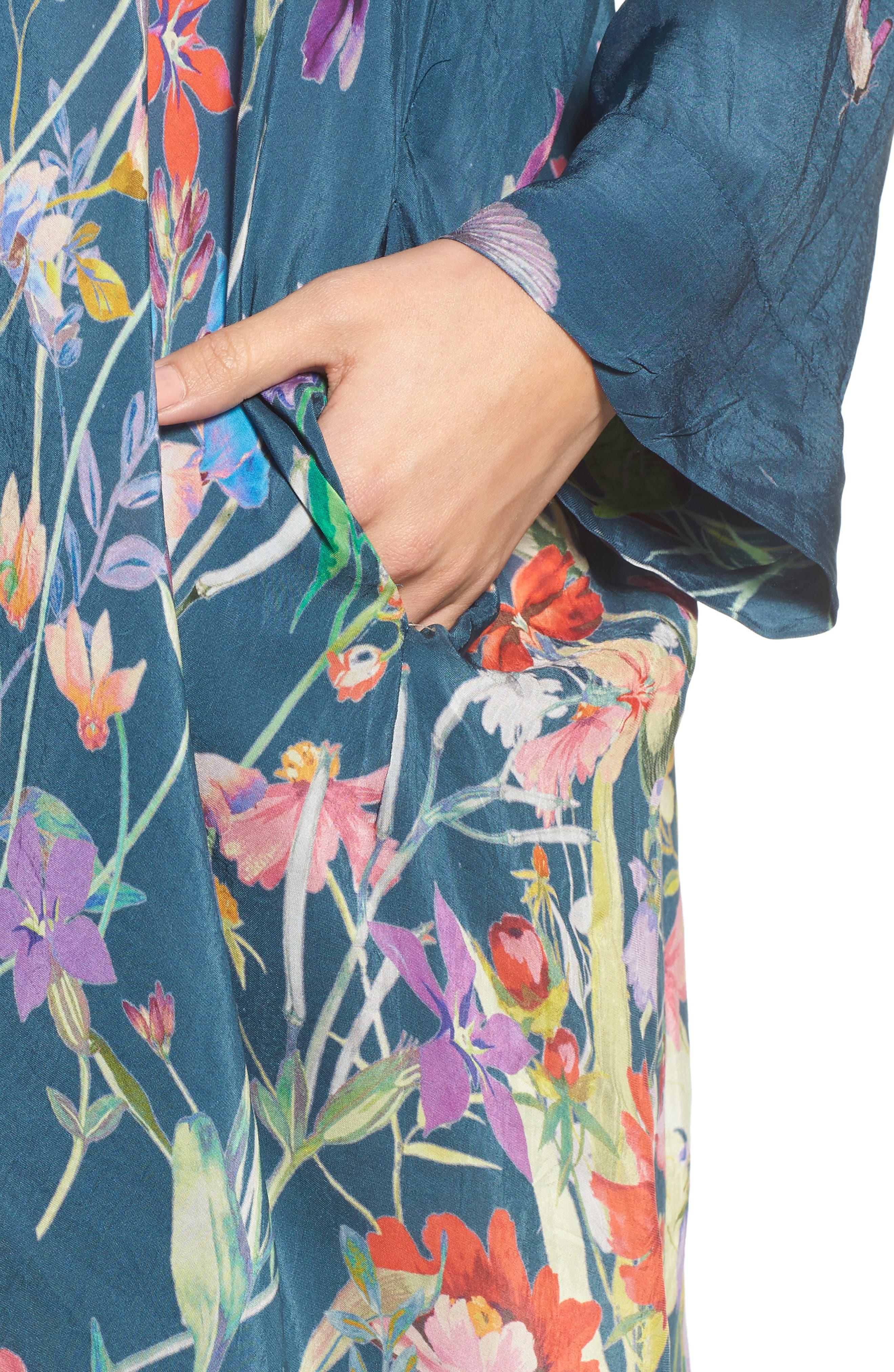 Summer Paisley Silk Kimono,                             Alternate thumbnail 4, color,                             Multi/ Blue