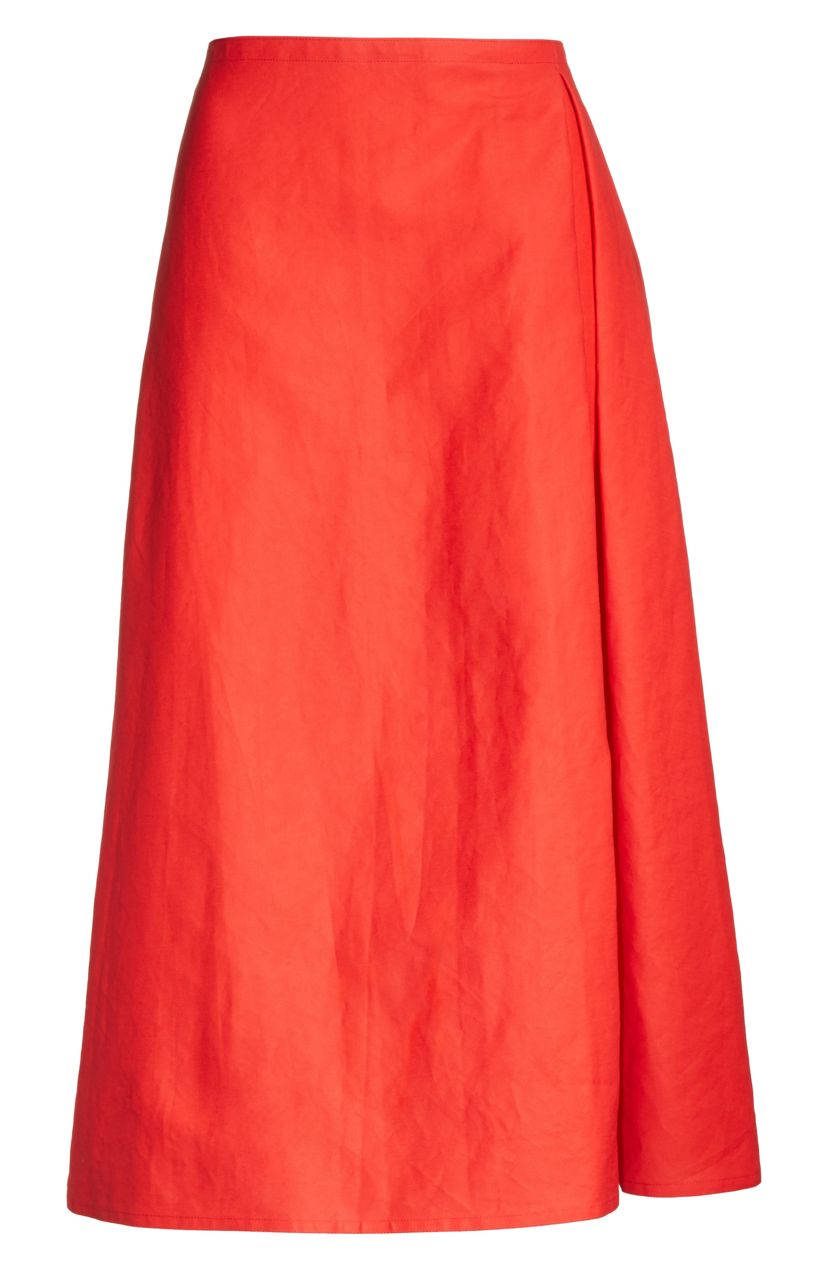 Faux Wrap Skirt,                             Alternate thumbnail 6, color,                             Red Pepper