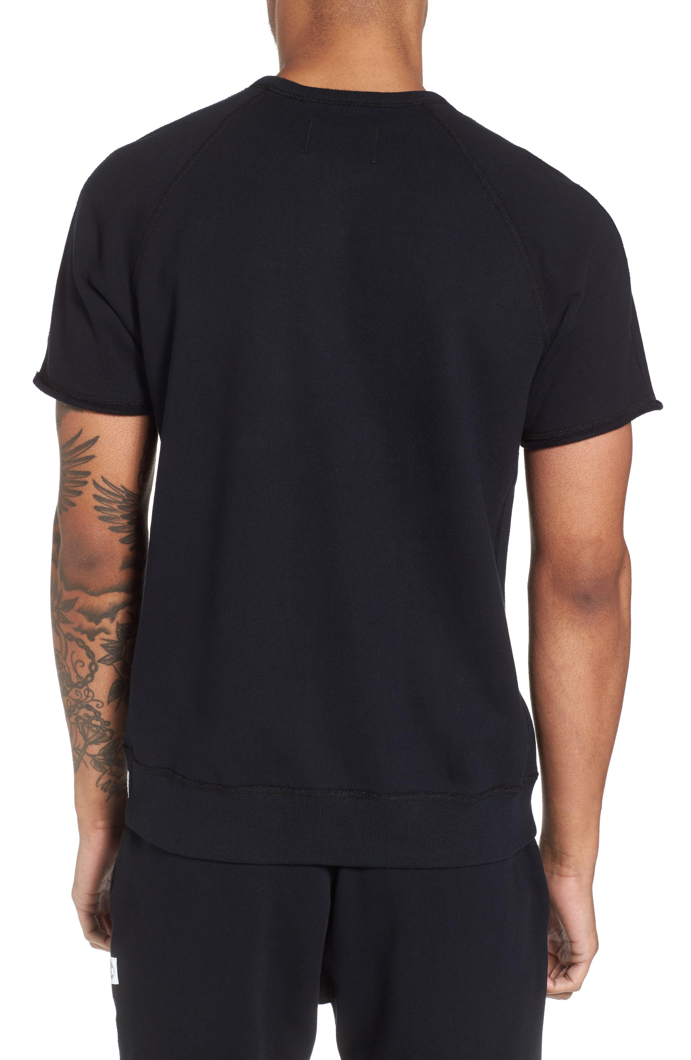 Cutoff Short Sleeve Sweatshirt,                             Alternate thumbnail 2, color,                             Black