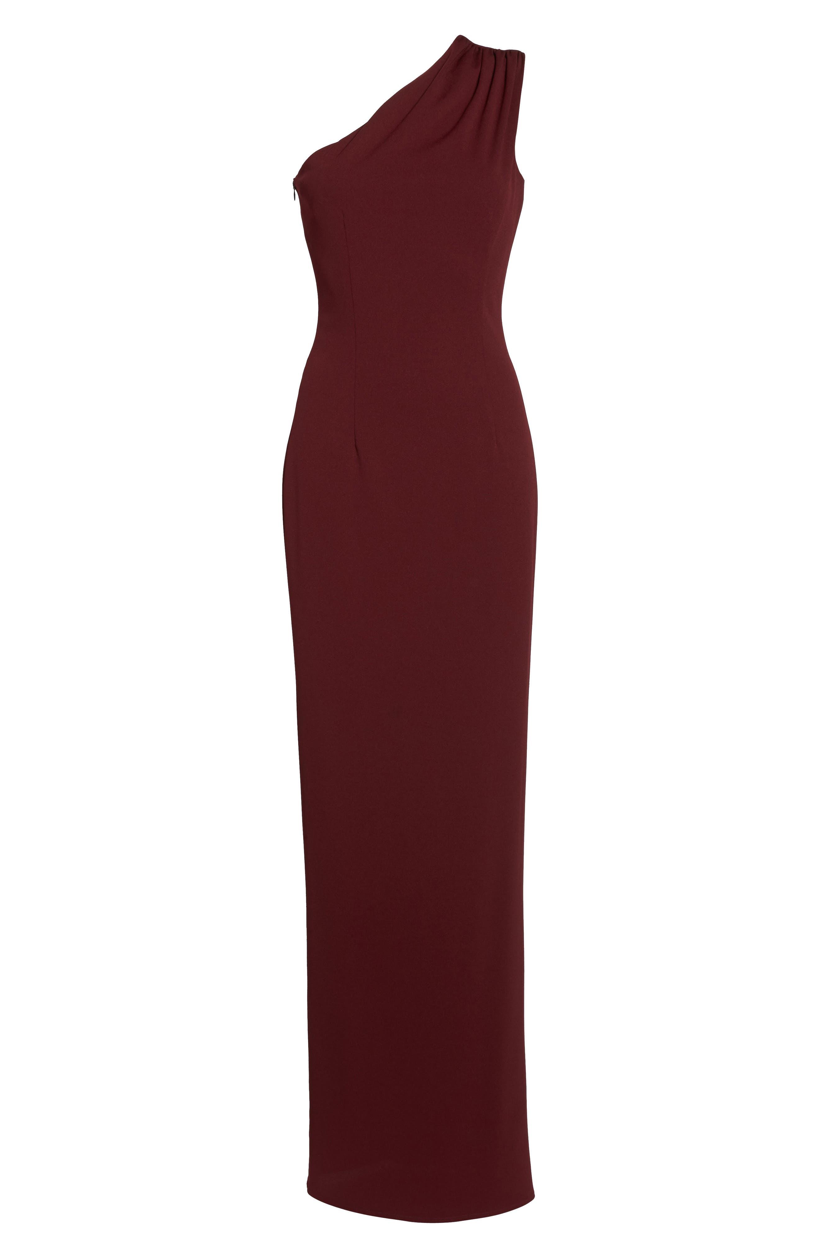 Angelina One-Shoulder Crepe Column Gown,                             Alternate thumbnail 6, color,                             Bordeaux