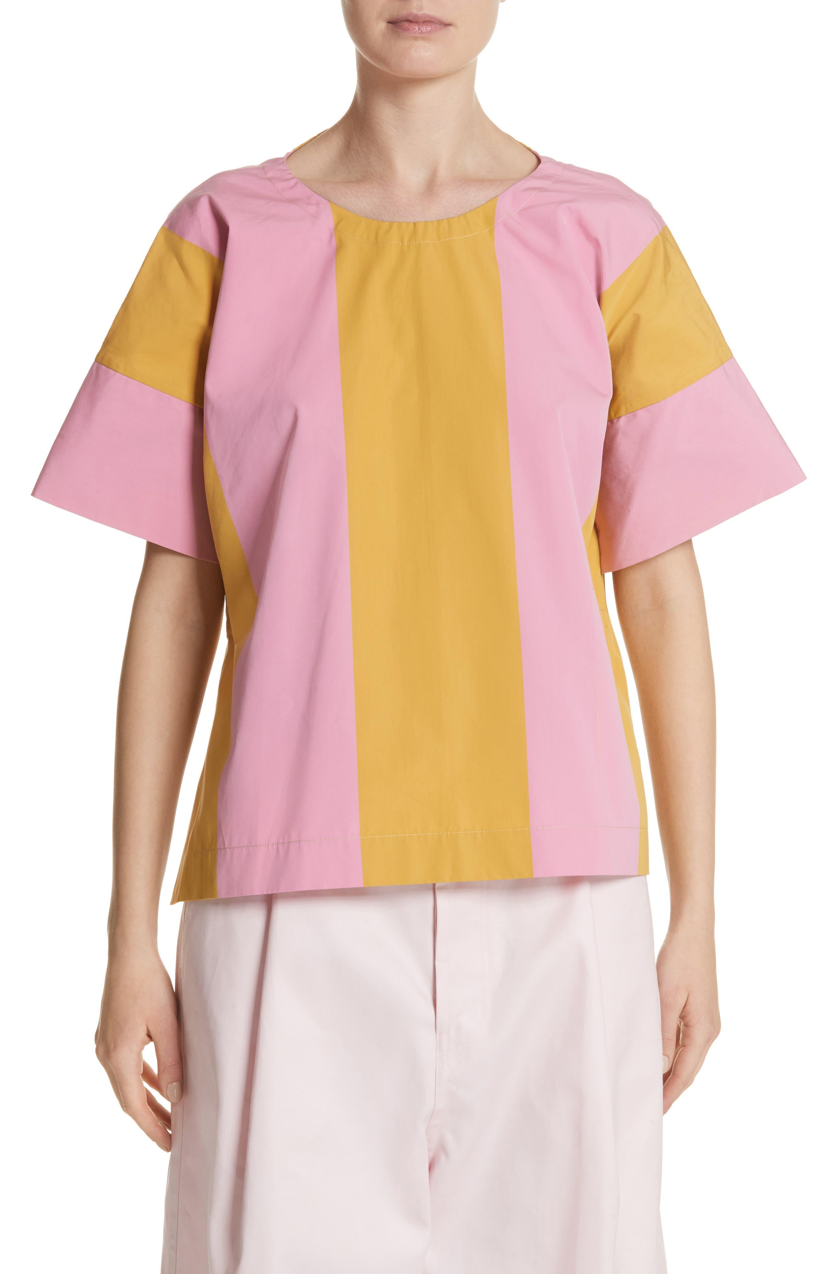 T-Top Side Slit Blouse,                         Main,                         color, Rose/Banana