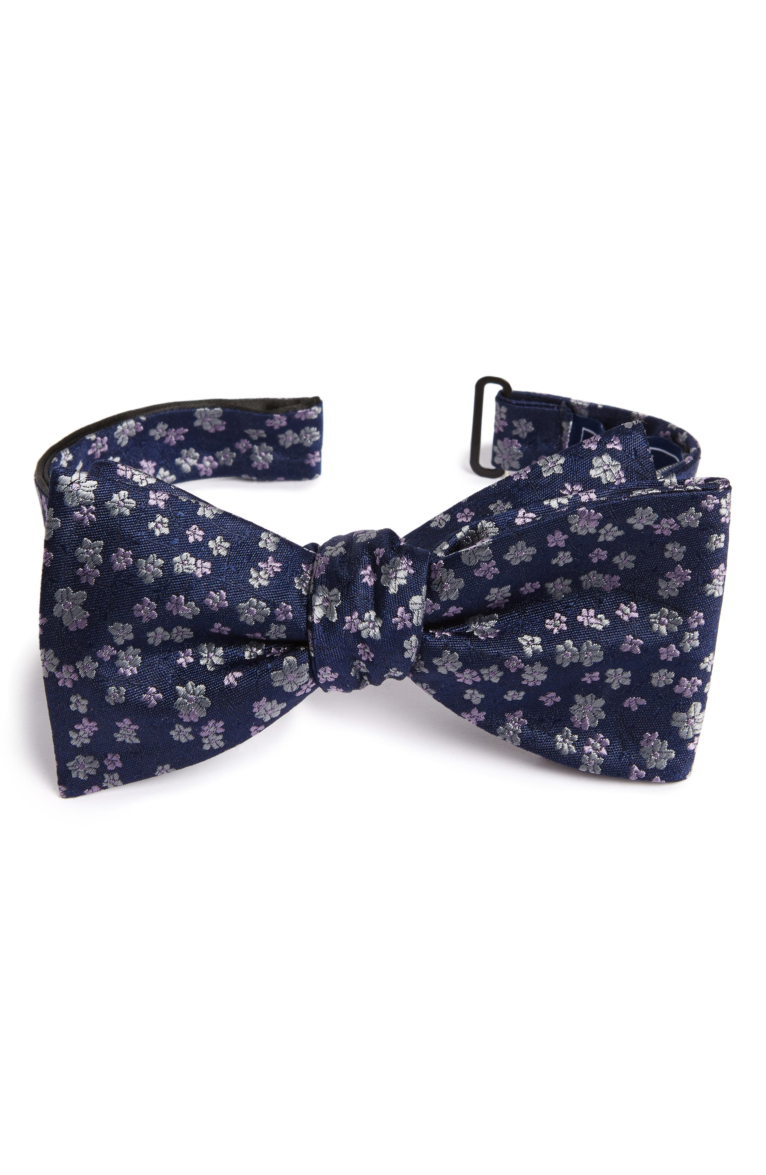Free Fall Floral Silk Bow Tie,                             Main thumbnail 1, color,                             Lavender