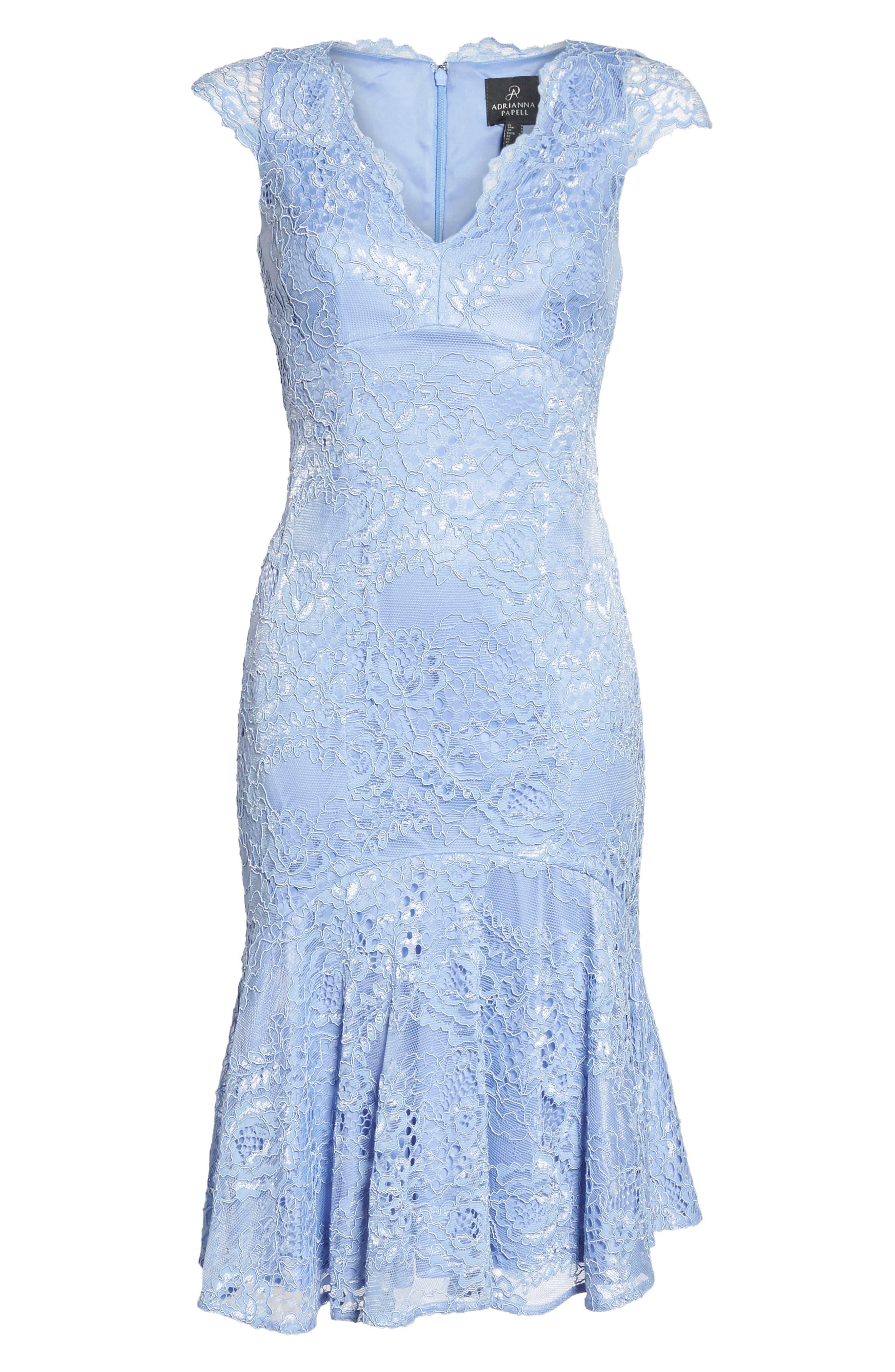 Flounce Hem Lace Dress,                             Alternate thumbnail 6, color,                             Blue Lavender