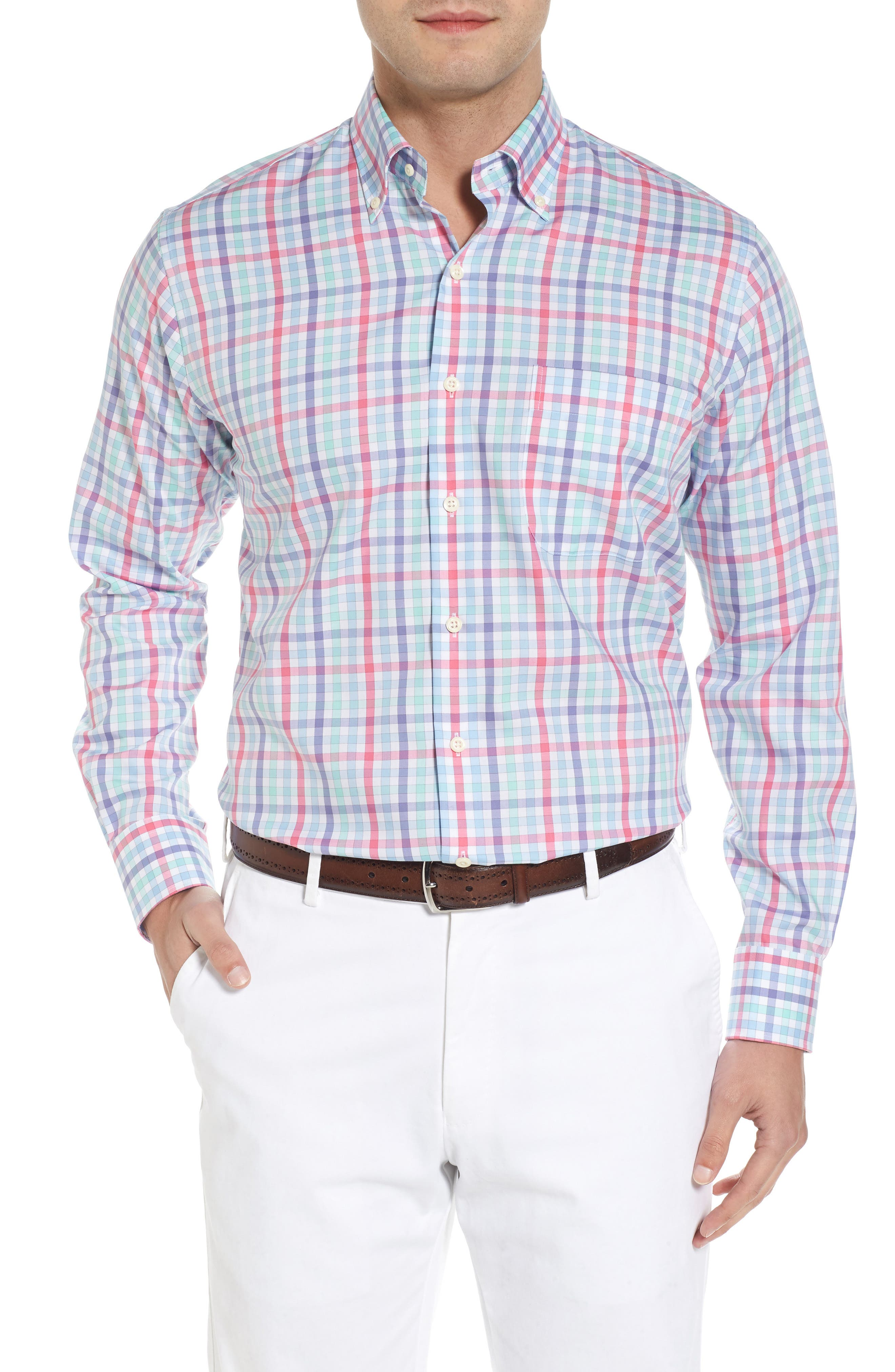 Crown Ease Habanero Regular Fit Check Sport Shirt,                             Main thumbnail 1, color,                             Tar Heel Blue