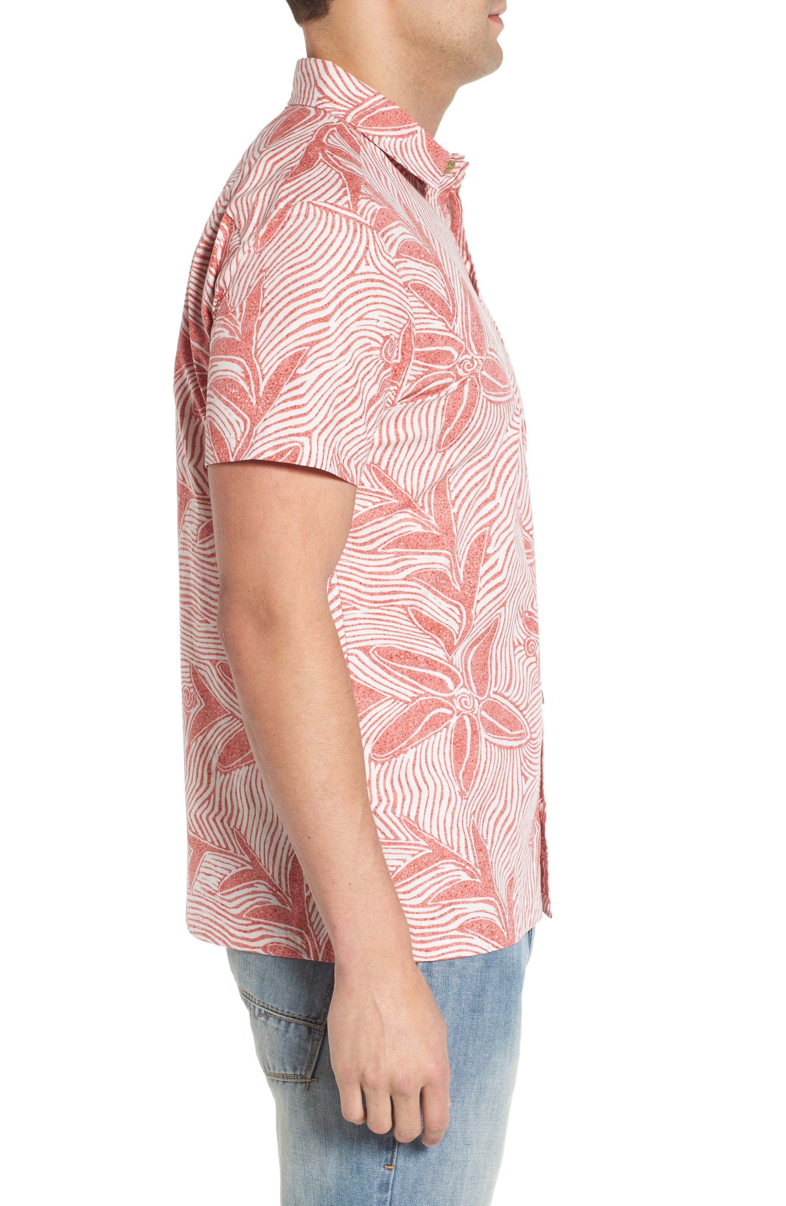 Coral Star Trim Fit Print Sport Shirt,                             Alternate thumbnail 3, color,                             Red