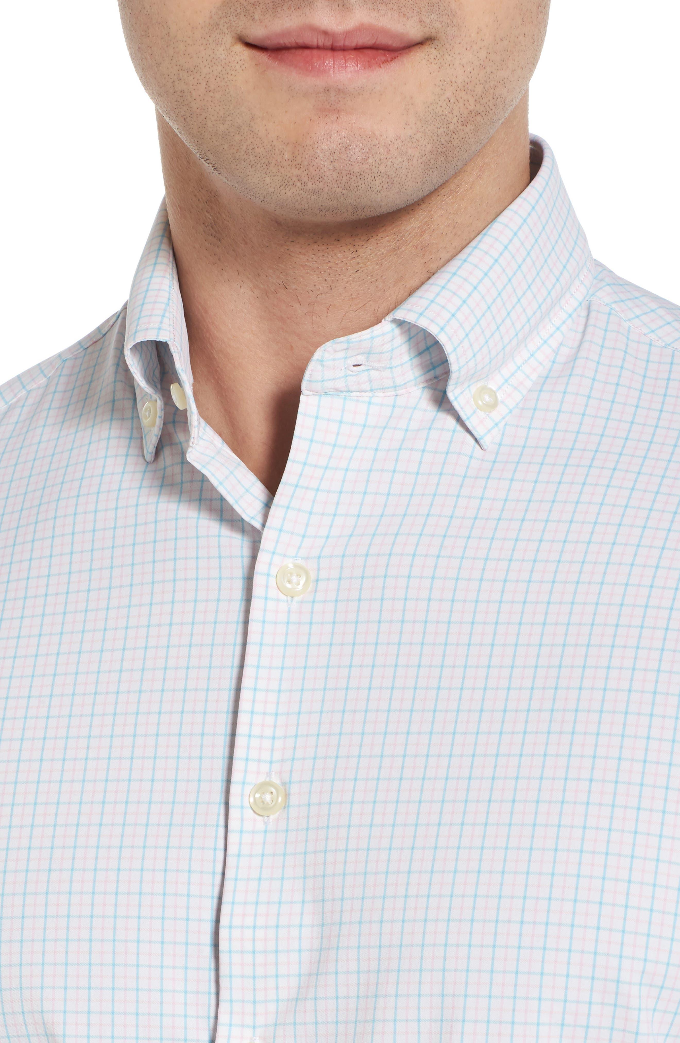Waldorf Regular Fit Tattersall Performance Sport Shirt,                             Alternate thumbnail 2, color,                             White/ Piglet Pink