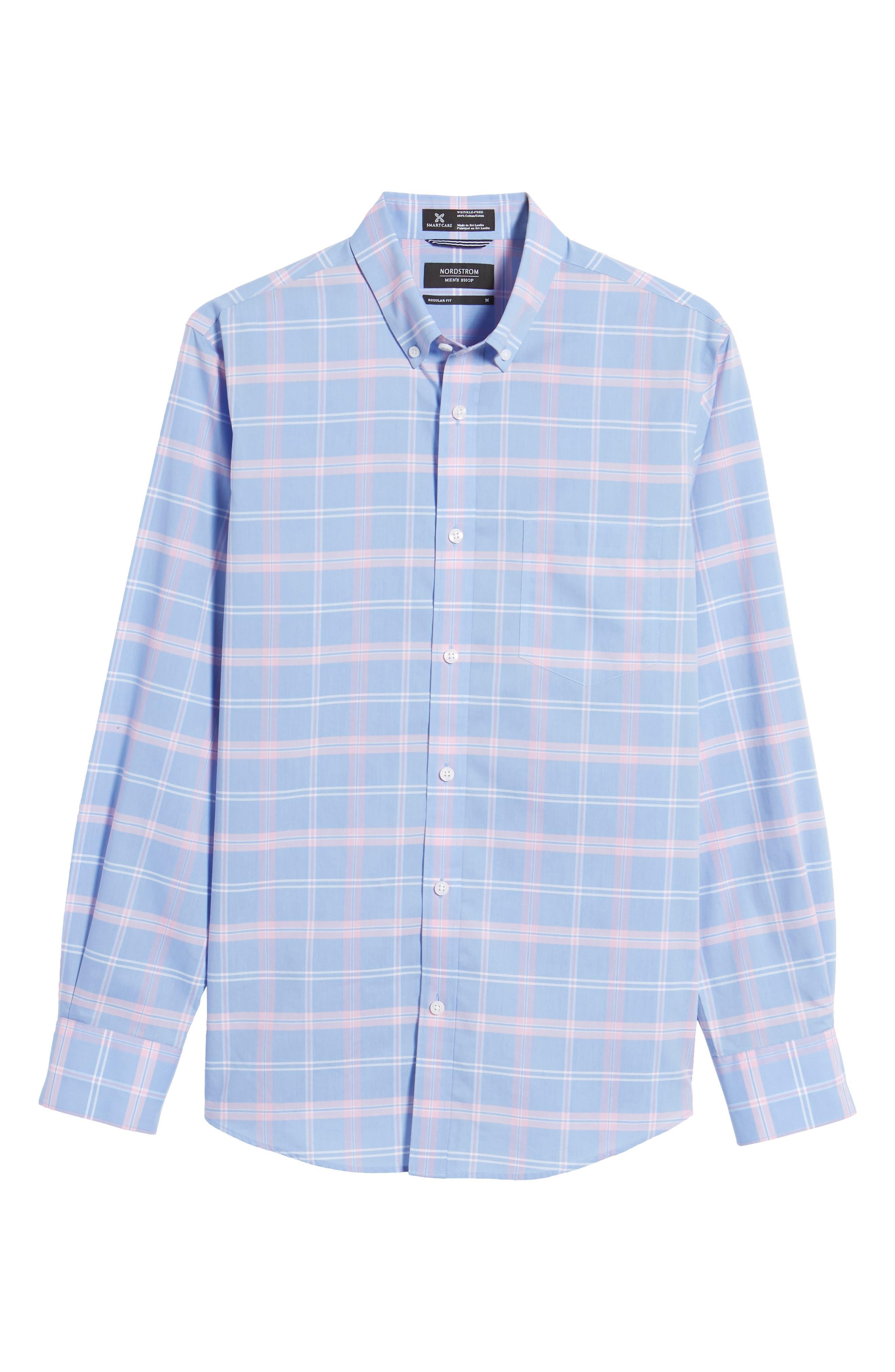 Smartcare<sup>™</sup> Regular Fit Plaid Sport Shirt,                             Alternate thumbnail 6, color,                             Blue Dusk Pink Plaid
