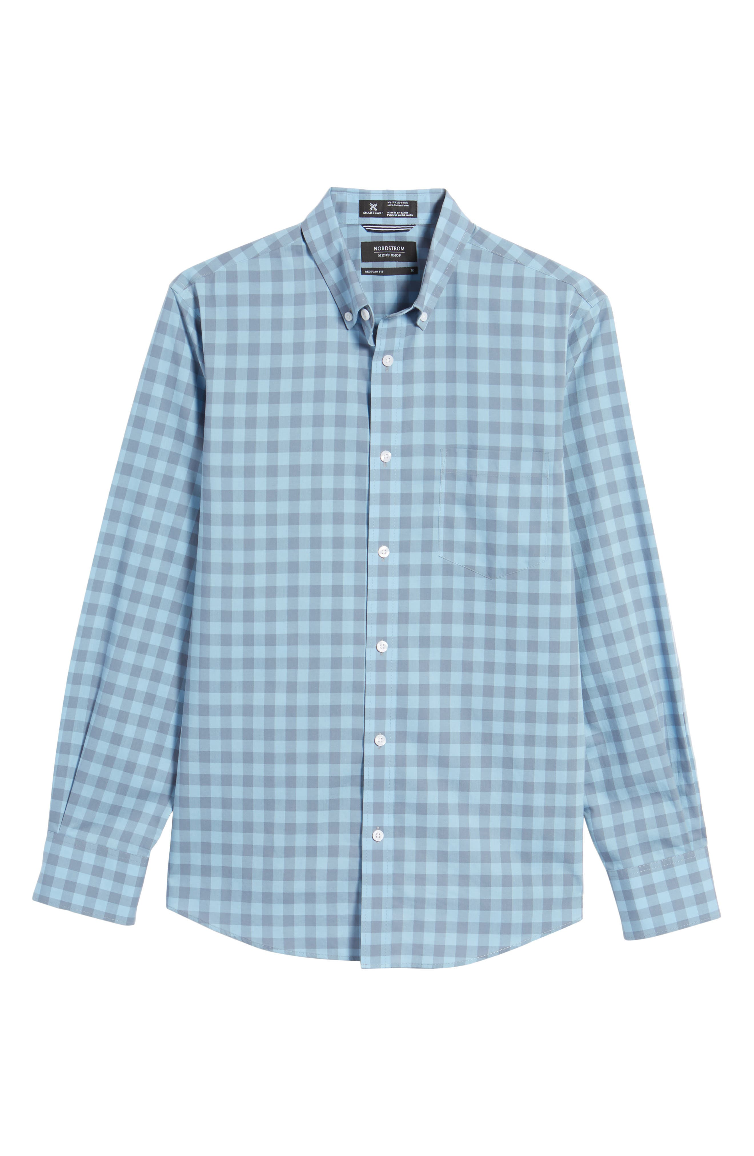 Regular Fit Gingham Sport Shirt,                             Alternate thumbnail 6, color,                             Blue Dusk Grey Gingham