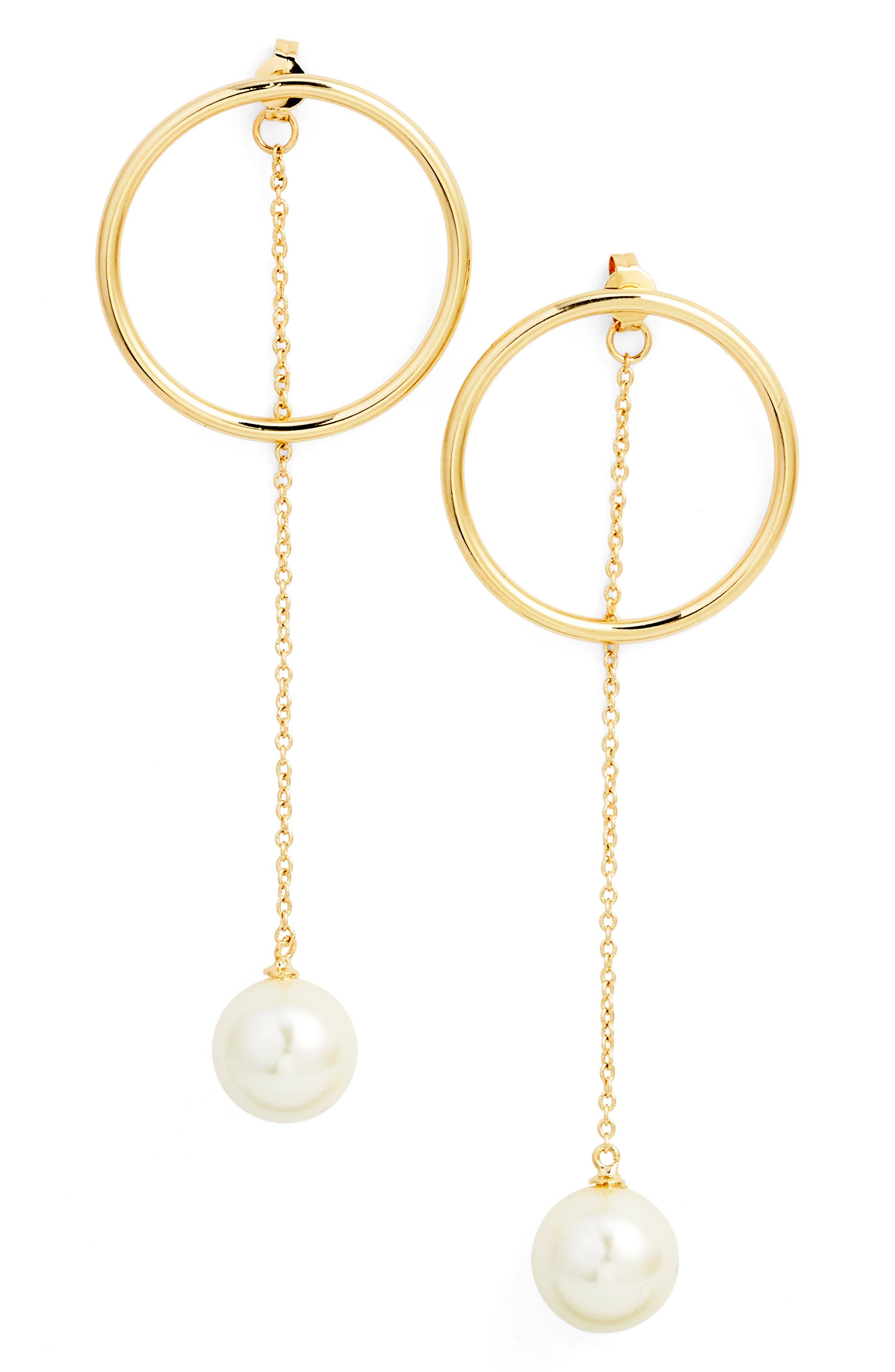 Halogen® Modern Imitation Pearl Drop Earrings