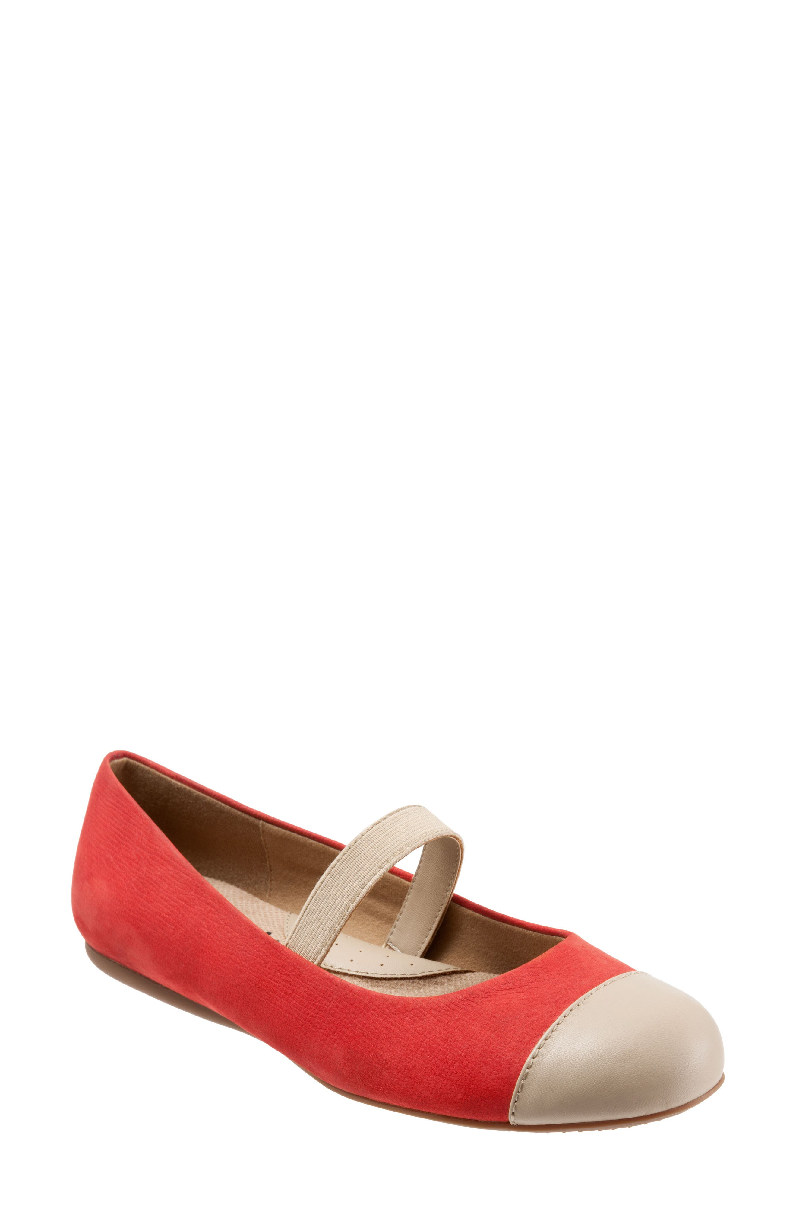 Napa Mary Jane Flat,                             Main thumbnail 1, color,                             Red/ Nude Leather