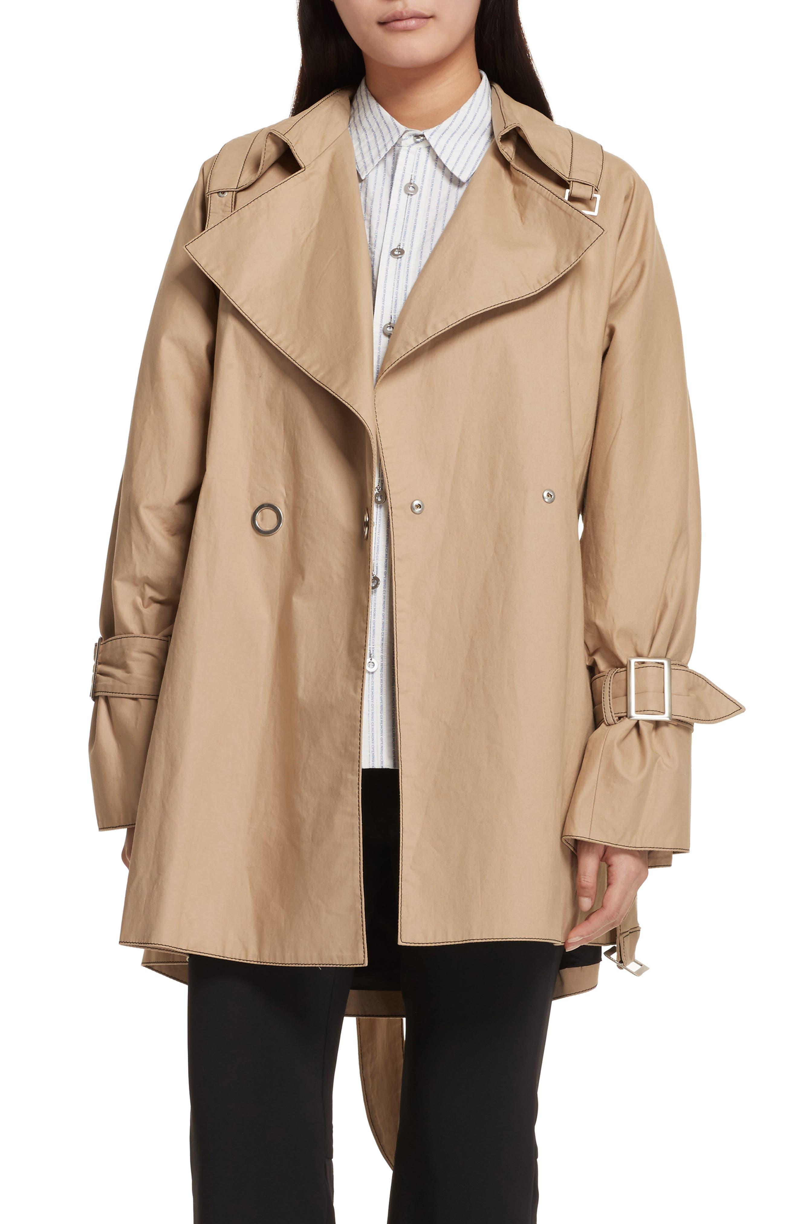 Bonded Poplin Trench Coat,                             Main thumbnail 1, color,                             Khaki